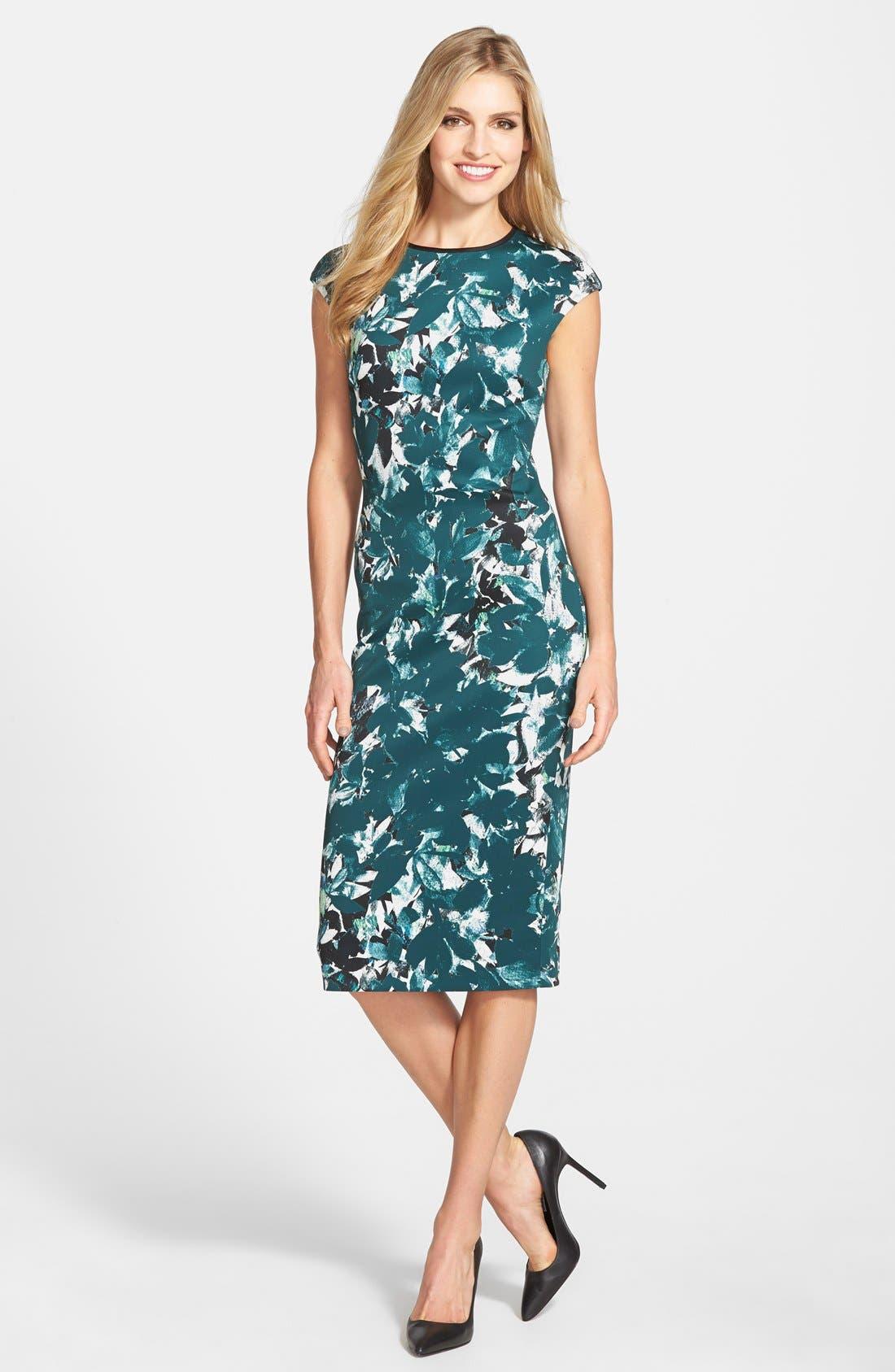 Main Image - Maggy London 'Shadow Branch' Print Scuba Midi Dress (Regular & Petite)