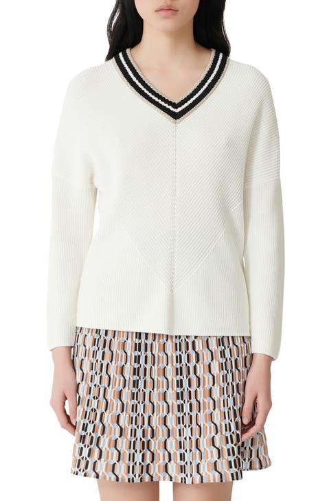 마쥬 브이넥 스웨터 MAJE Metallic Detail V-Neck Cotton Sweater,ecru