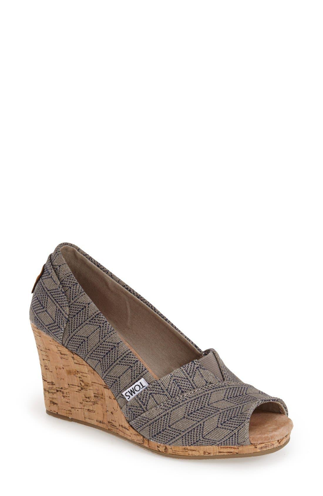 Alternate Image 1 Selected - TOMS 'Classic - Shashiko' Woven Wedge Sandal (Women)