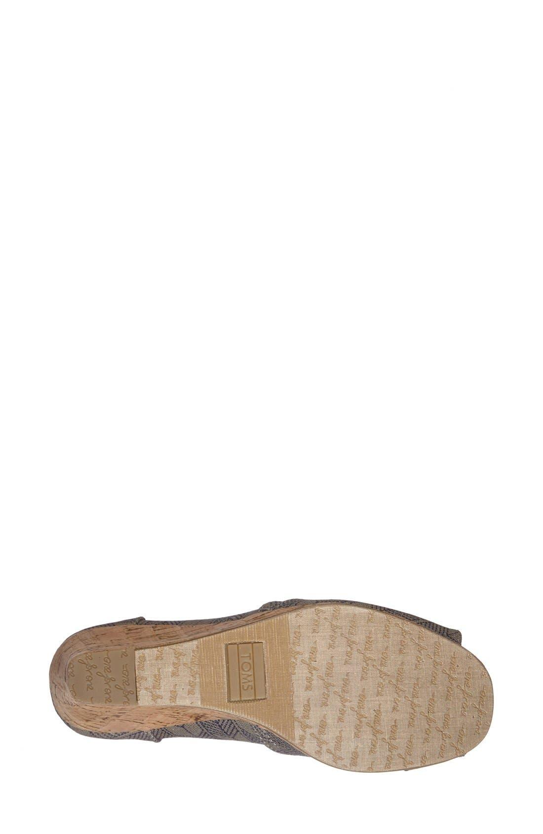 Alternate Image 4  - TOMS 'Classic - Shashiko' Woven Wedge Sandal (Women)