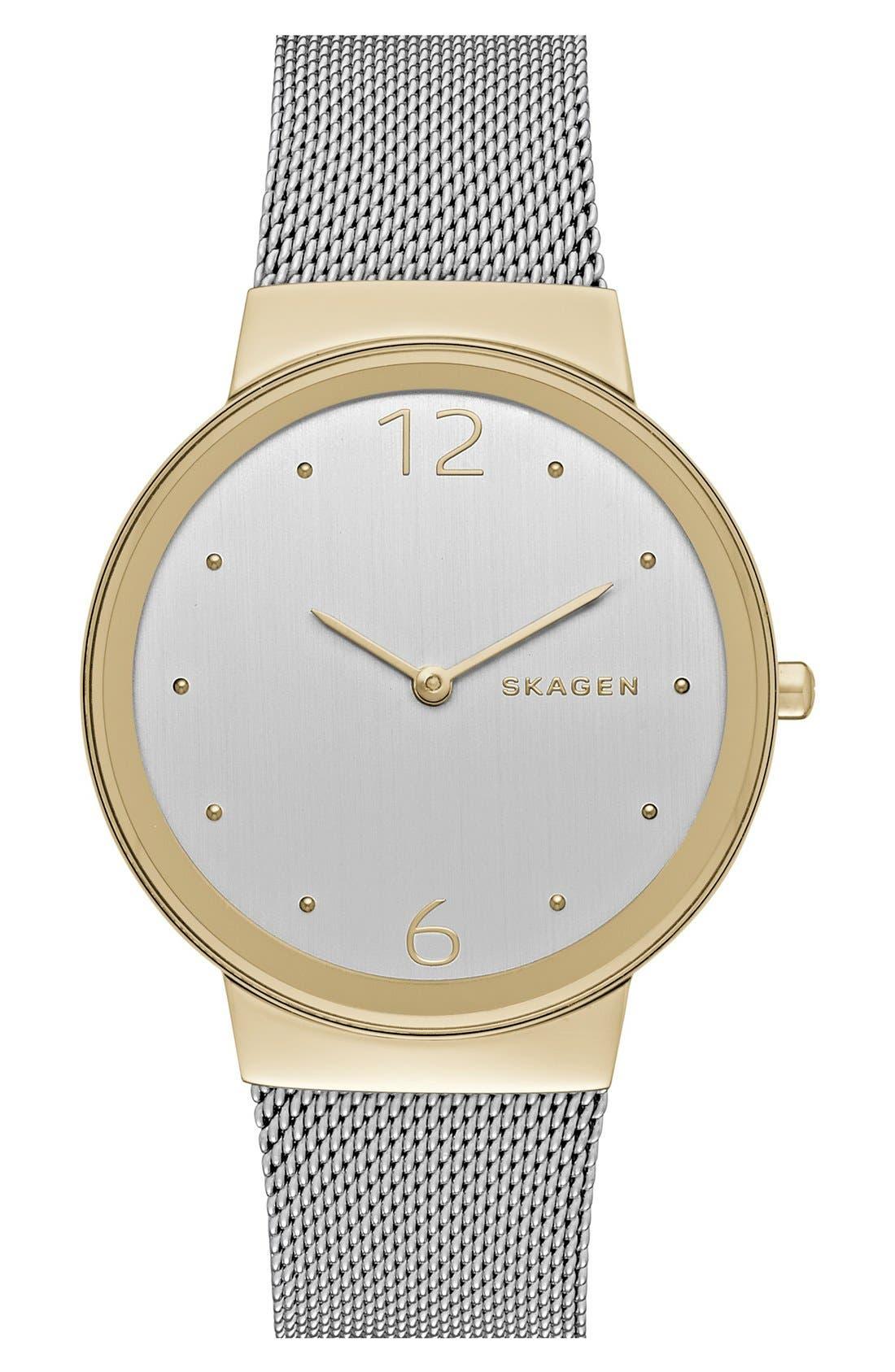 Alternate Image 1 Selected - Skagen 'Freja' Mesh Strap Watch, 34mm