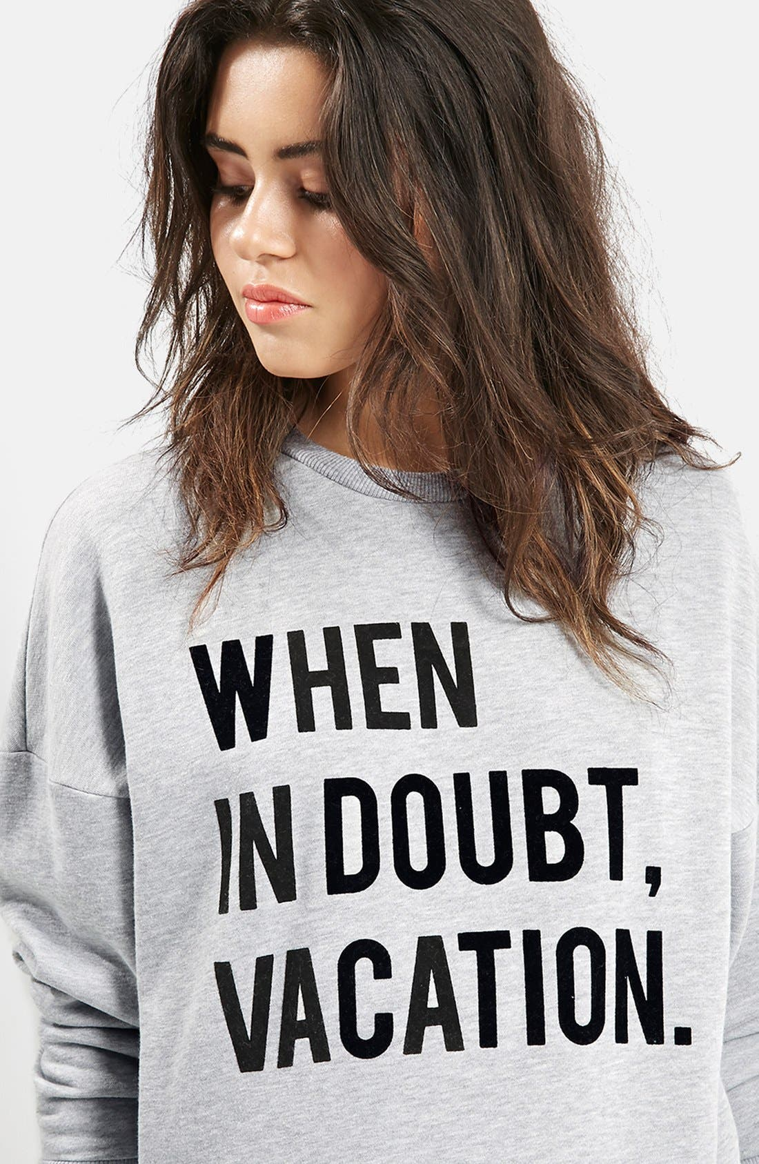 Alternate Image 5  - KENDALL + KYLIE at Topshop 'When in Doubt, Vacation' Crewneck Pullover
