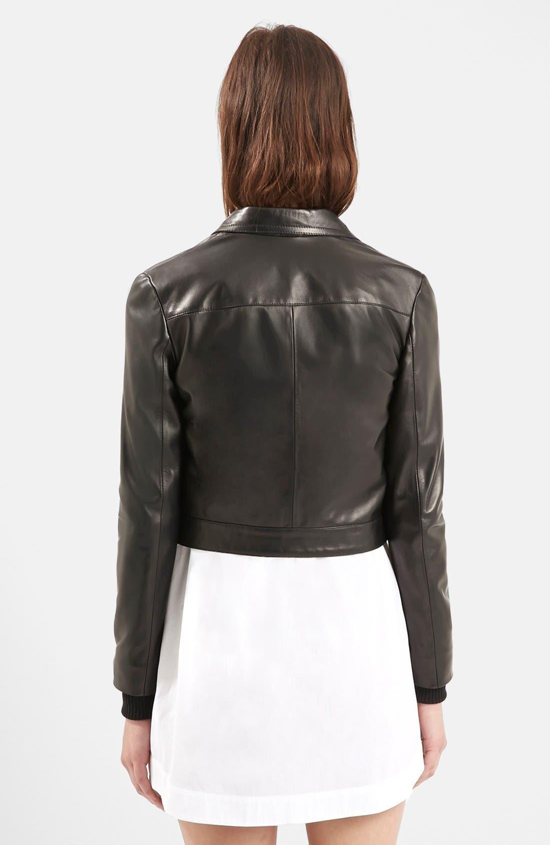 Alternate Image 2  - Topshop Unique 'Mason' Crop Leather Bomber Jacket