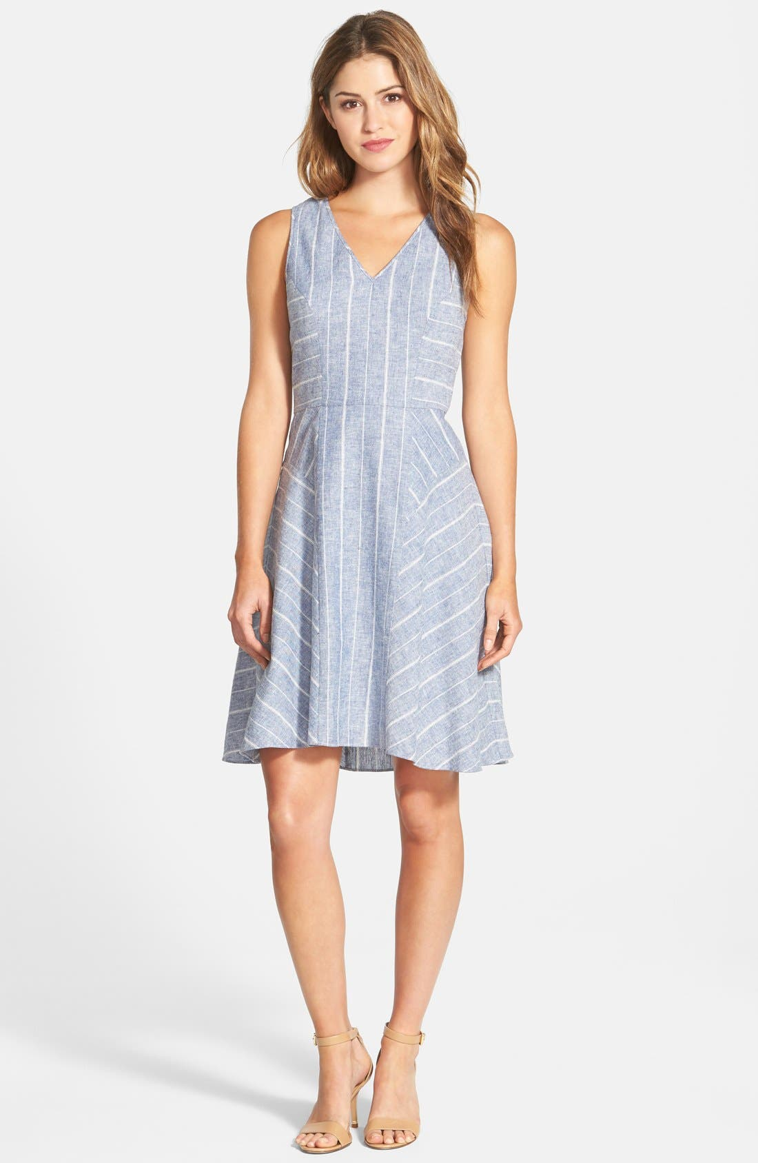 Alternate Image 1 Selected - Adrianna Papell Stripe Double V-Neckline Linen Blend Fit & Flare Dress