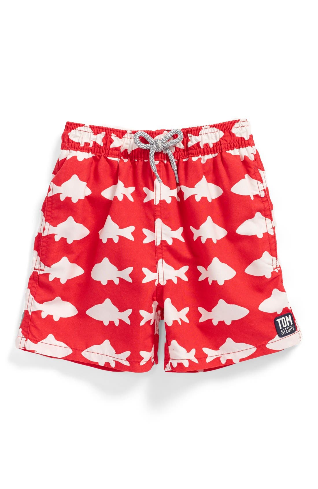 Tom & Teddy 'Fish Pattern' Swim Trunks (Toddler Boys, Little Boys & Big Boys)