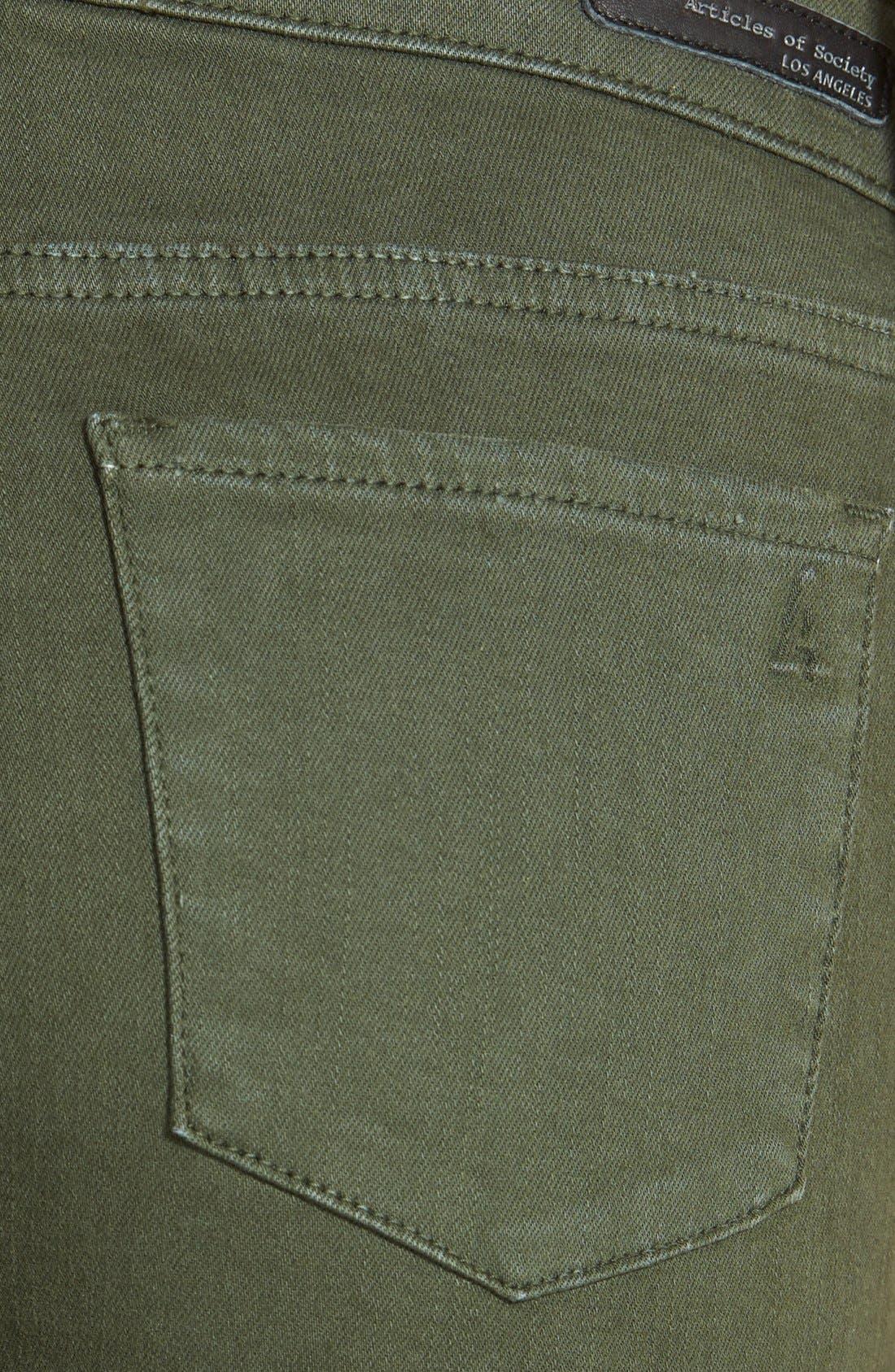 Alternate Image 3  - Articles of Society 'Cindy' Overdye Skinny Jeans (Olive)