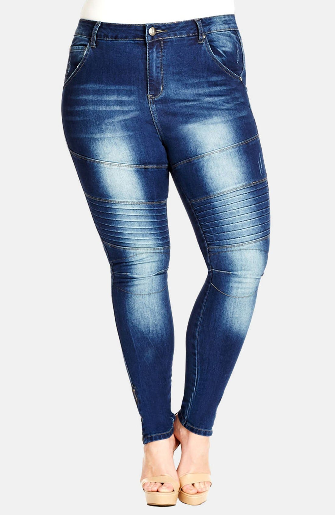 Alternate Image 1 Selected - City Chic 'MX Apple' Stretch Skinny Jeans (Medium Denim) (Plus Size)