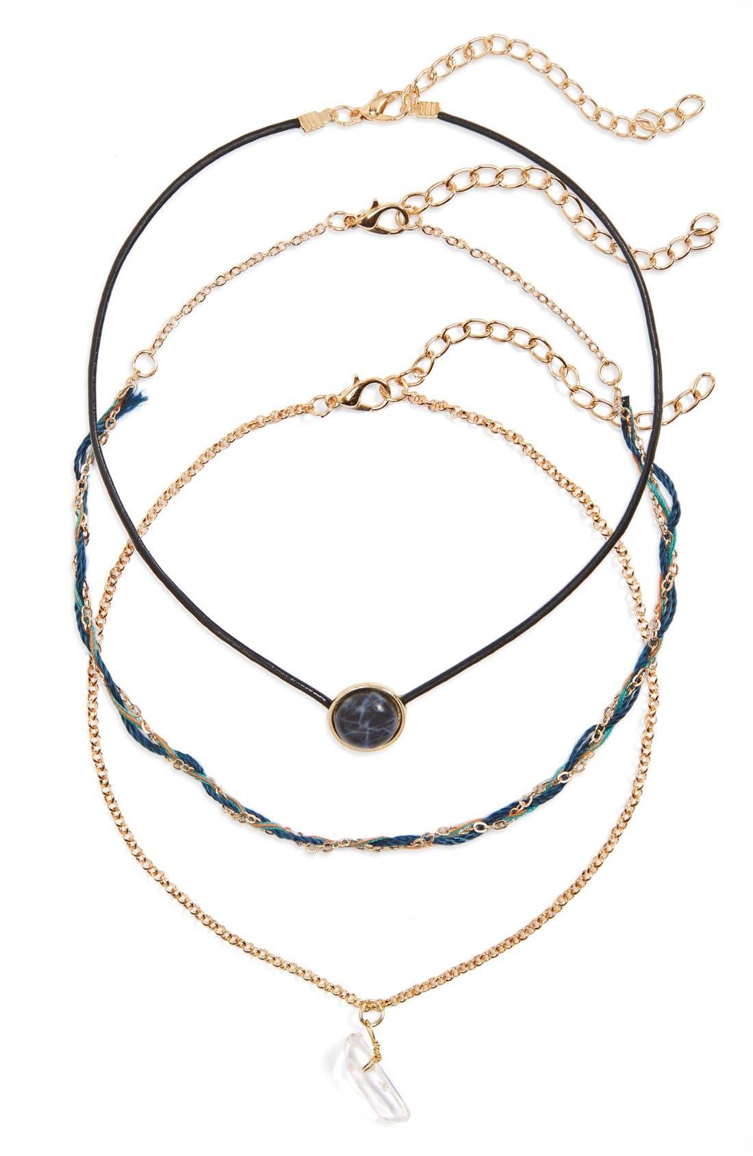 Main Image - BP. Mixed Media Choker Necklaces (Set of 3)