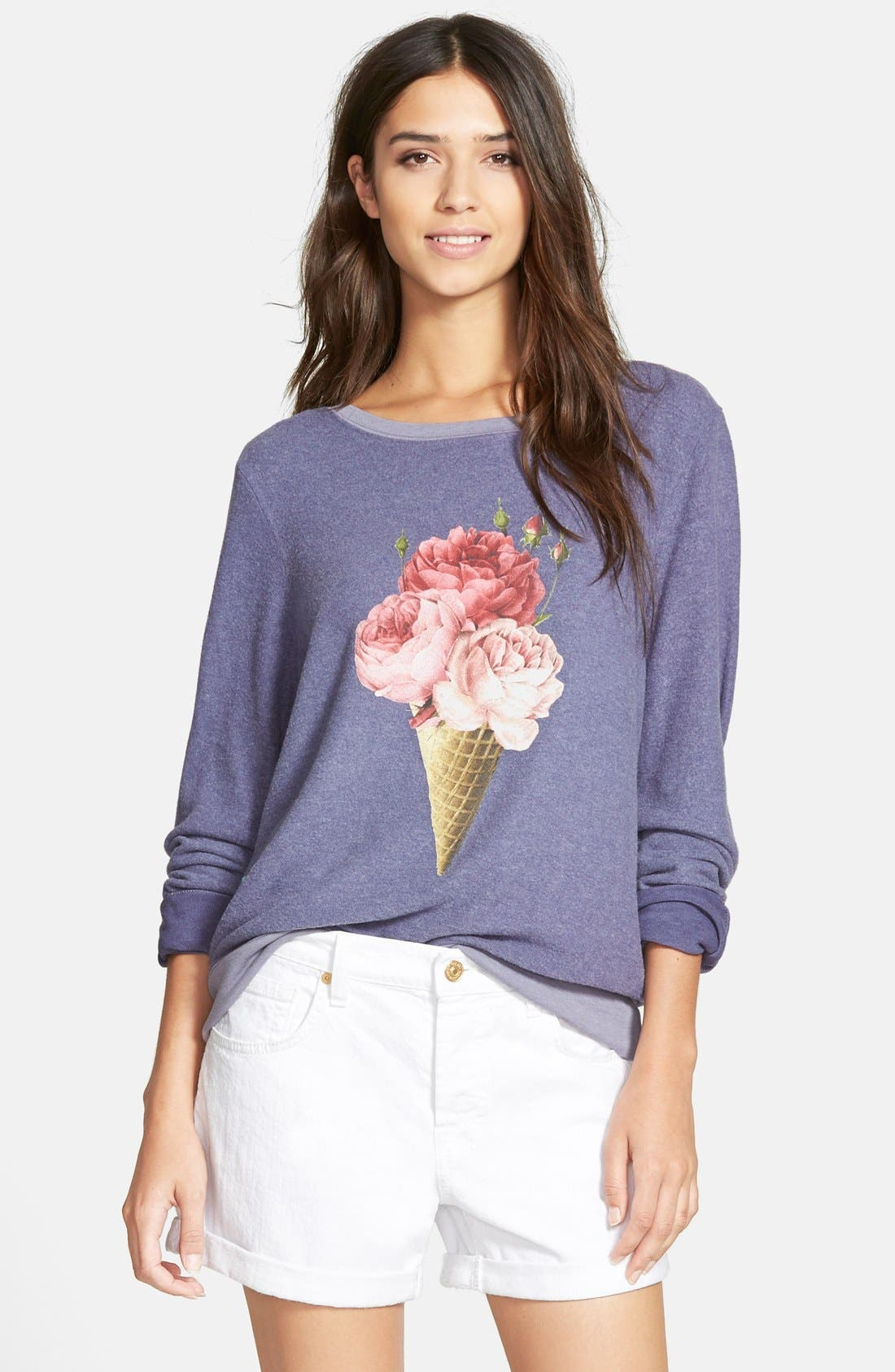 Main Image - Wildfox 'Baggy Beach Jumper - Floral Cone' Pullover
