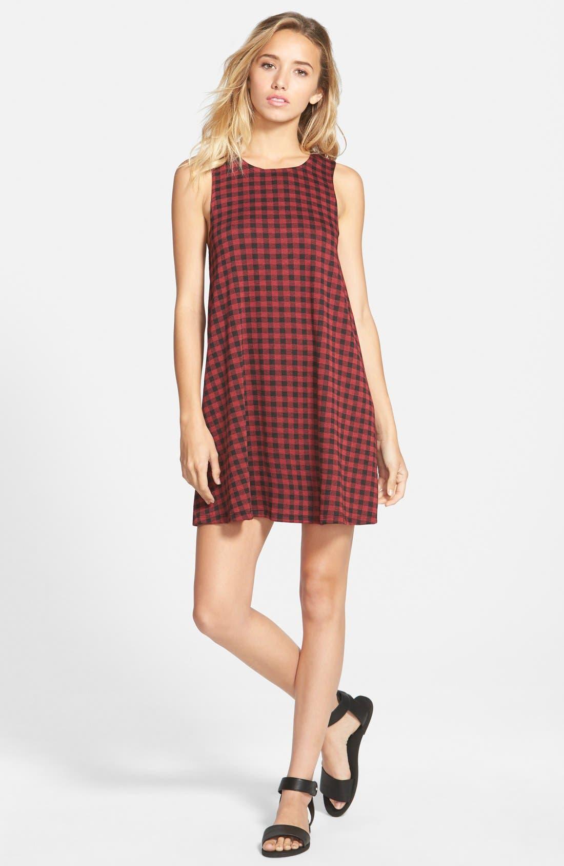 Main Image - Socialite Plaid Sleeveless Shift Dress