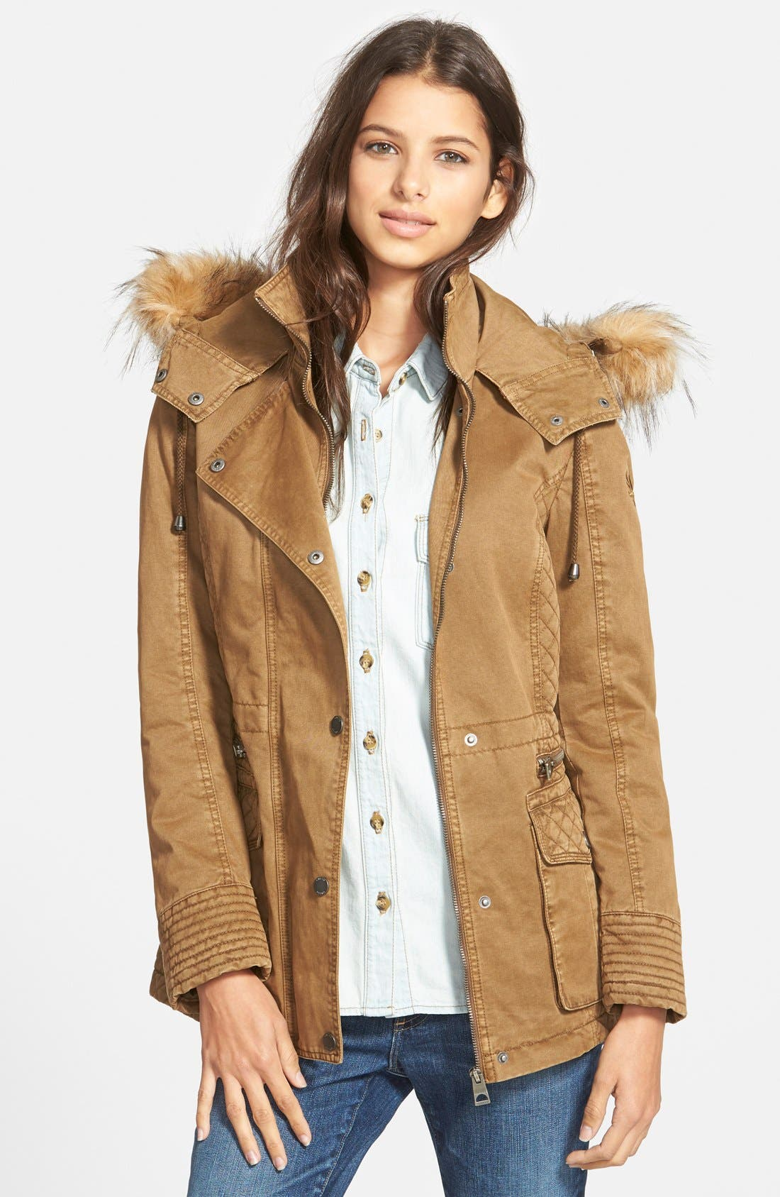 Main Image - GUESS Hooded Cotton Field Jacket with Faux Fur Trim
