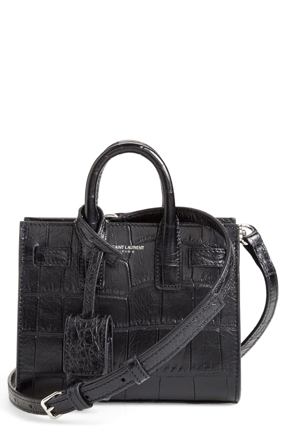 Main Image - Saint Laurent 'Toy Sac de Jour' Croc Embossed Calfskin Leather Tote (Extra Small)