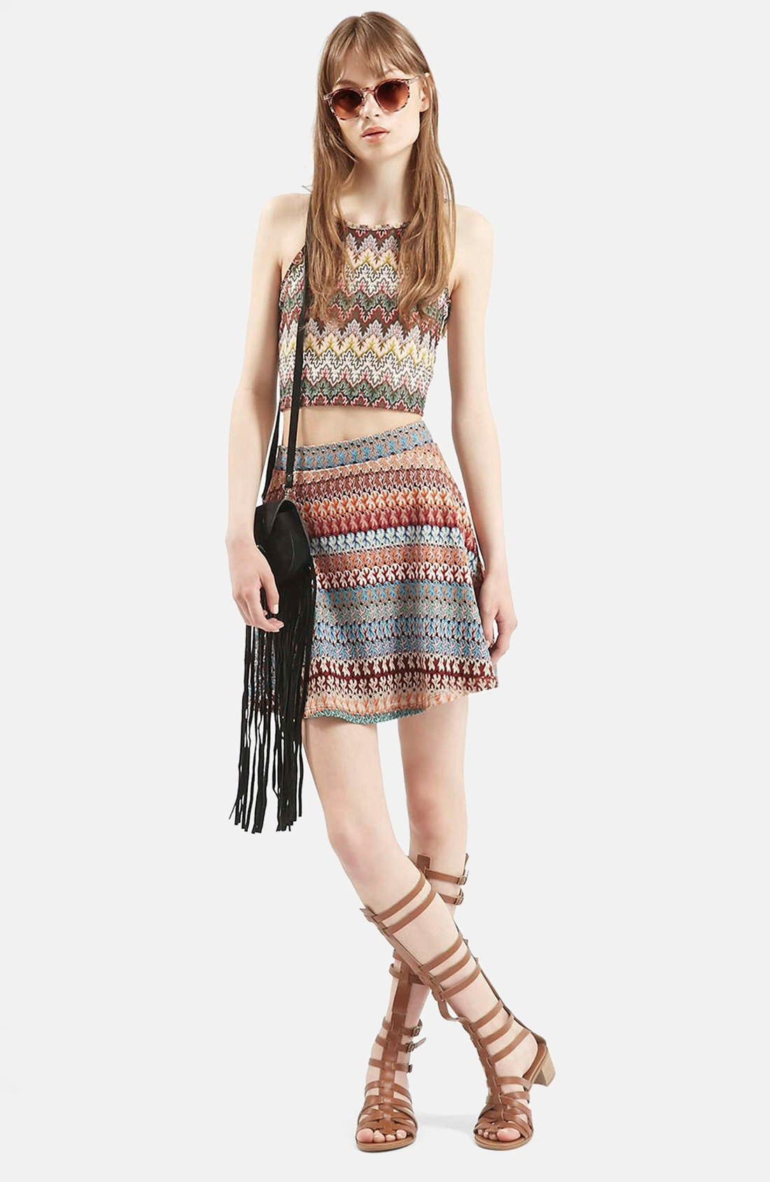 Alternate Image 4  - Topshop Crochet Stripe A-Line Skirt