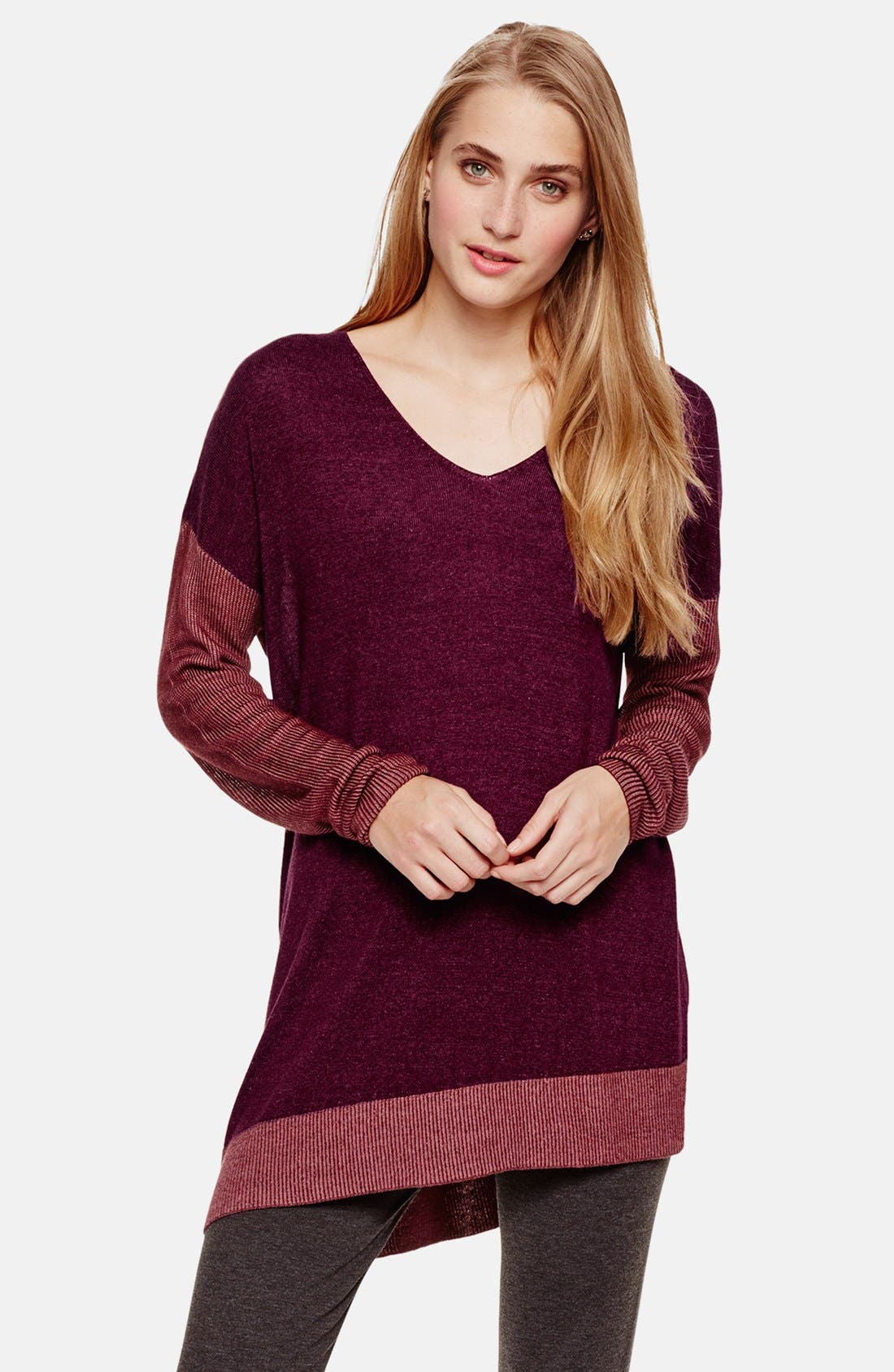 Main Image - Two by Vince Camuto Plaited Asymmetrical V-Neck Pullover