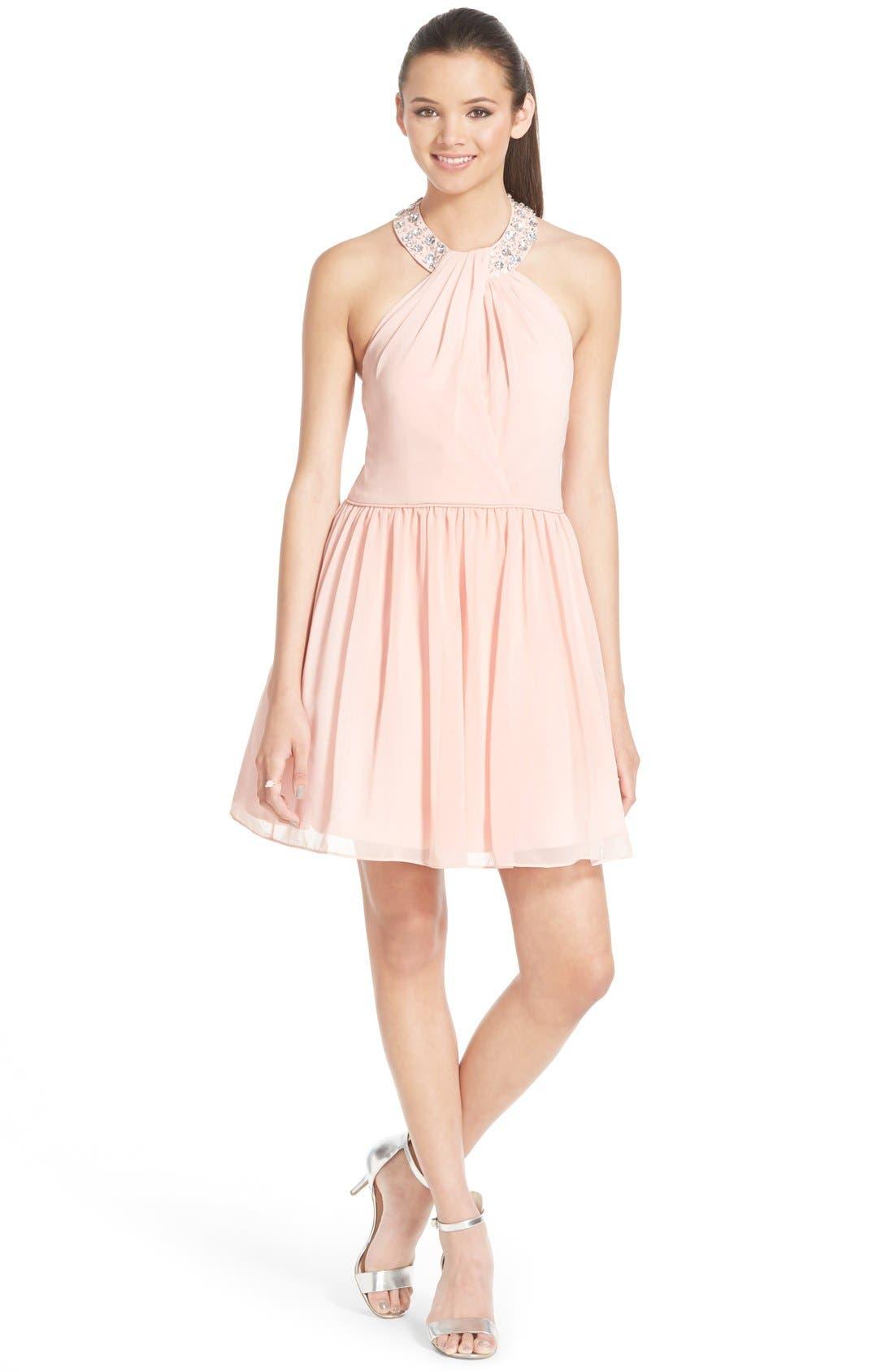 Alternate Image 1 Selected - Way-In Embellished Halter Dress