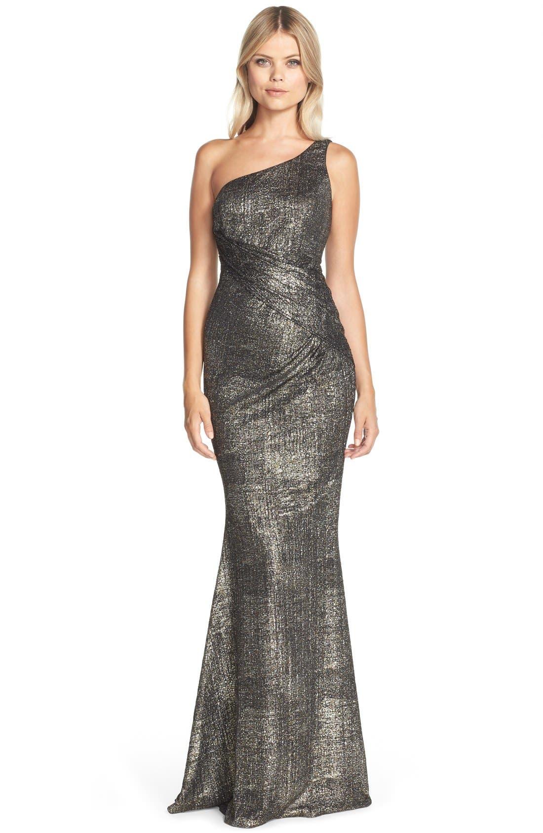 Alternate Image 1 Selected - Jay Godfrey 'Windermere' Metallic Jersey Mermaid Gown