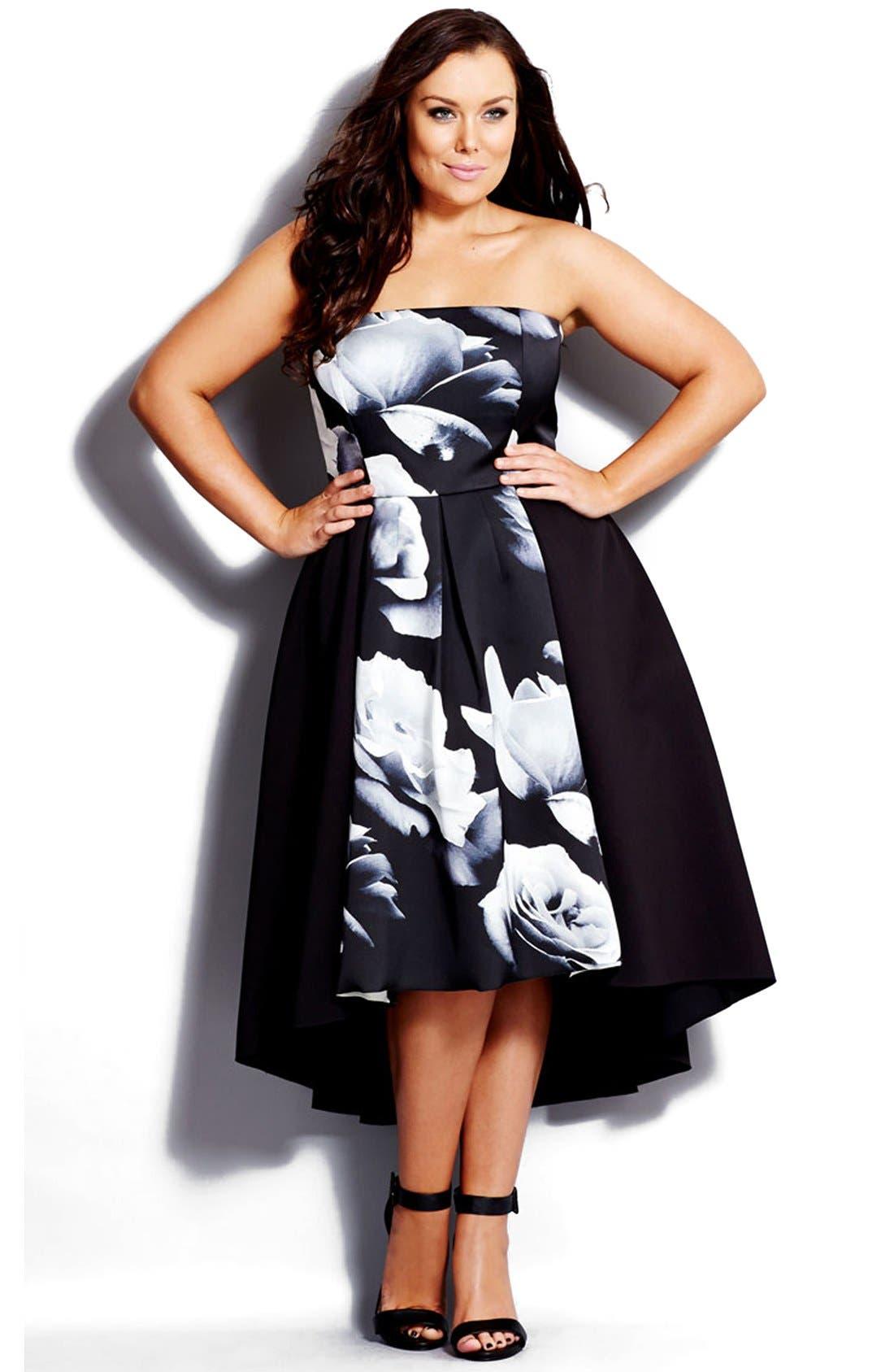 Main Image - City Chic 'Blown Rose'Print Block Strapless High/Low Dress (Plus Size)