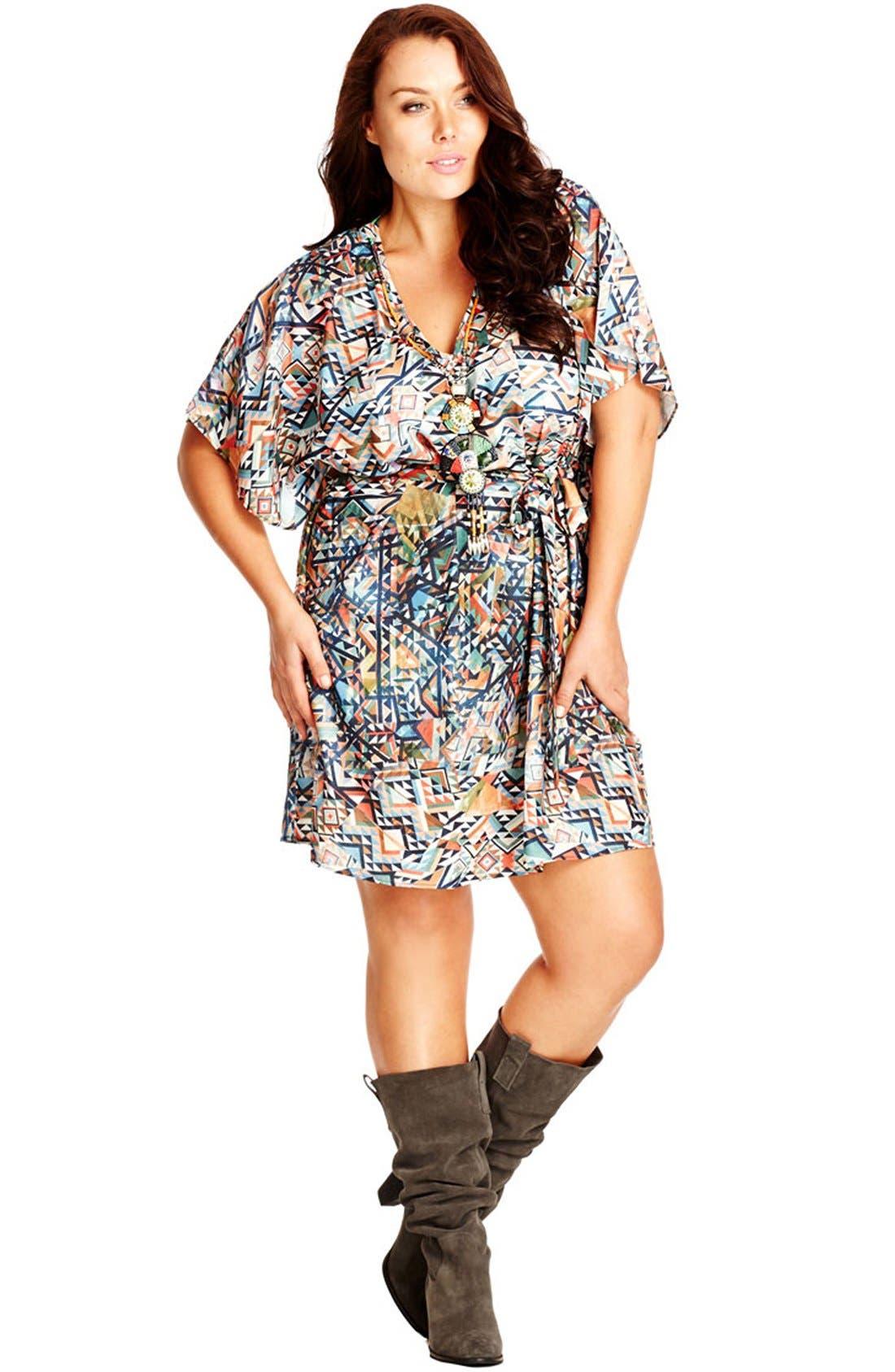 Main Image - City Chic Embellished Neck Geo Print Tunic Dress (Plus Size)