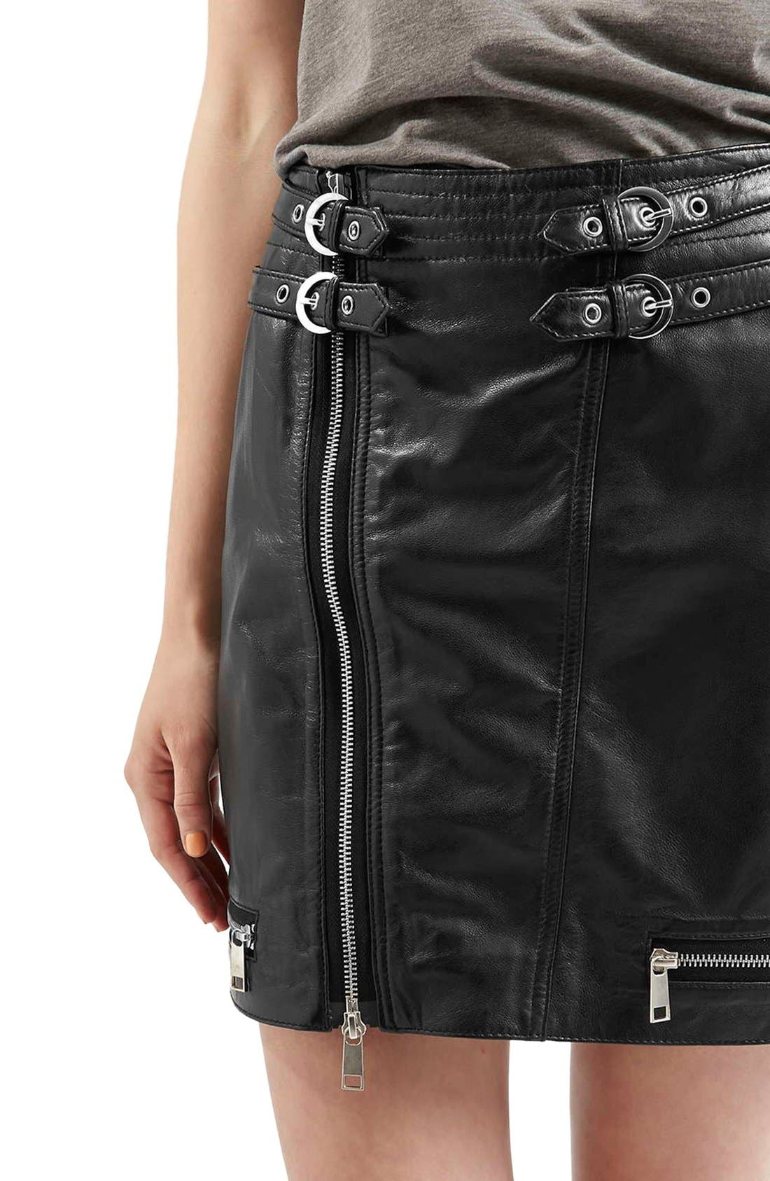 Alternate Image 5  - Topshop Zip Leather Miniskirt