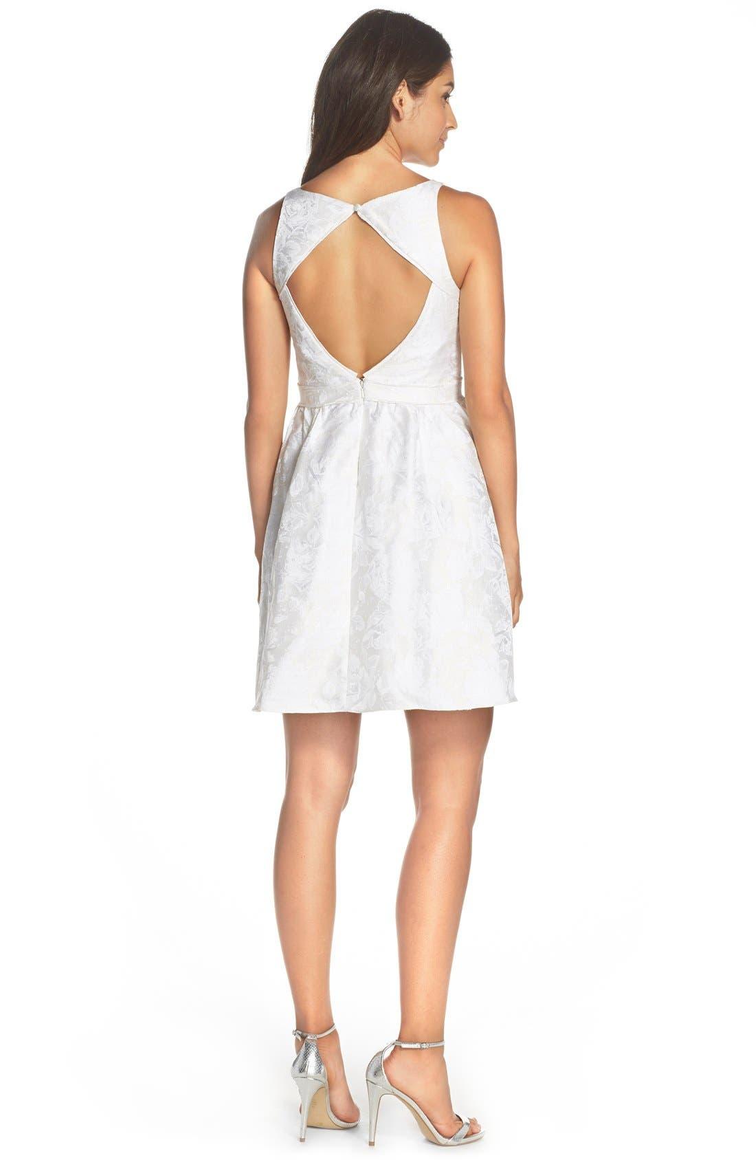 Alternate Image 2  - Aidan by Aidan Mattox Cutout Back Jacquard Fit & Flare Dress