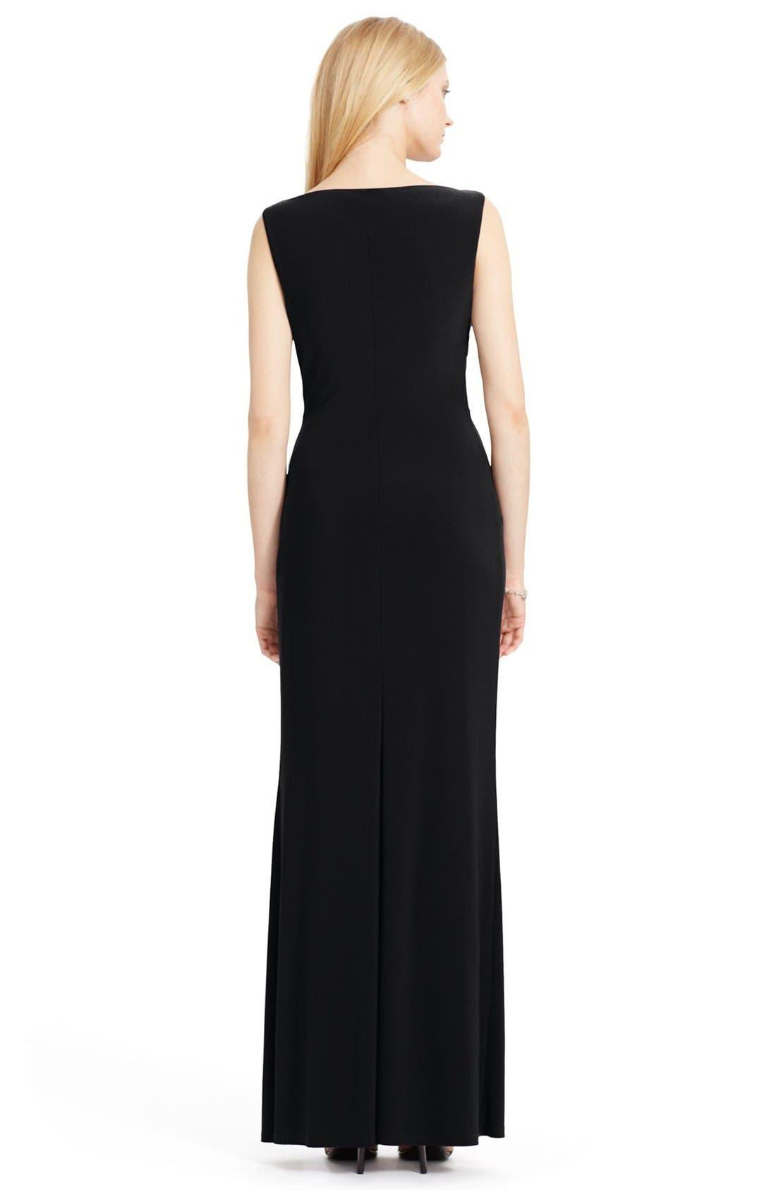 Alternate Image 2  - Lauren Ralph Lauren Ruched Jersey Gown (Regular & Petite)