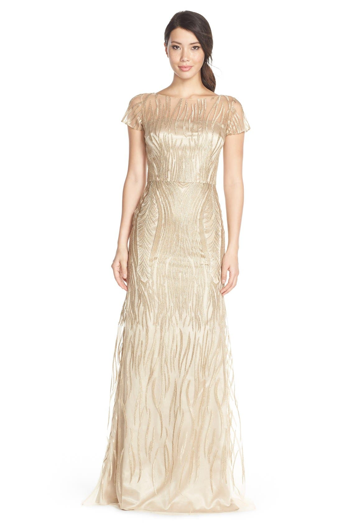 Main Image - David MeisterEmbroidered Tulle Fit & Flare Gown