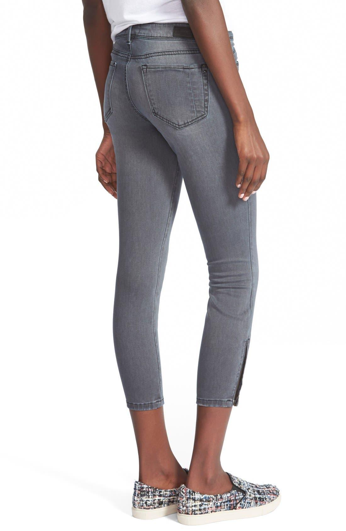 Alternate Image 2  - HART Denim 'Brodie' Zip Hem Crop Skinny Jeans (Dark Grey)