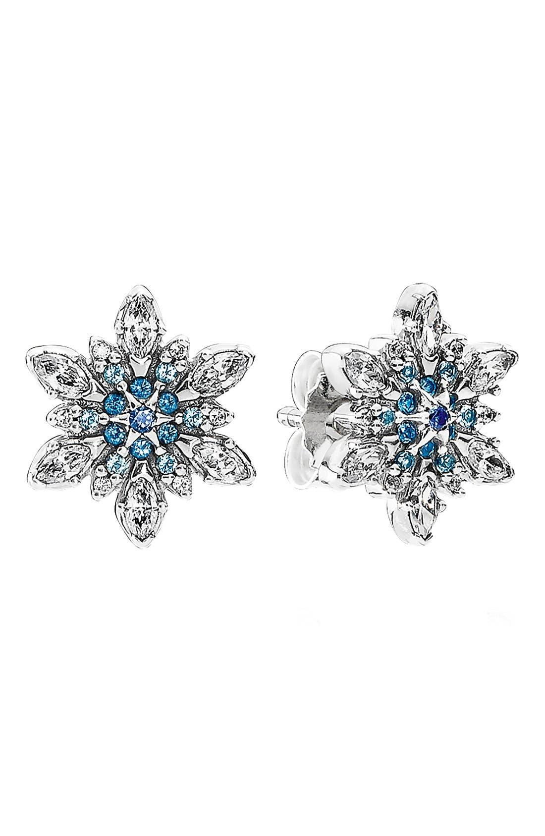 Alternate Image 1 Selected - PANDORA 'Snowflake' Crystal Stud Earrings