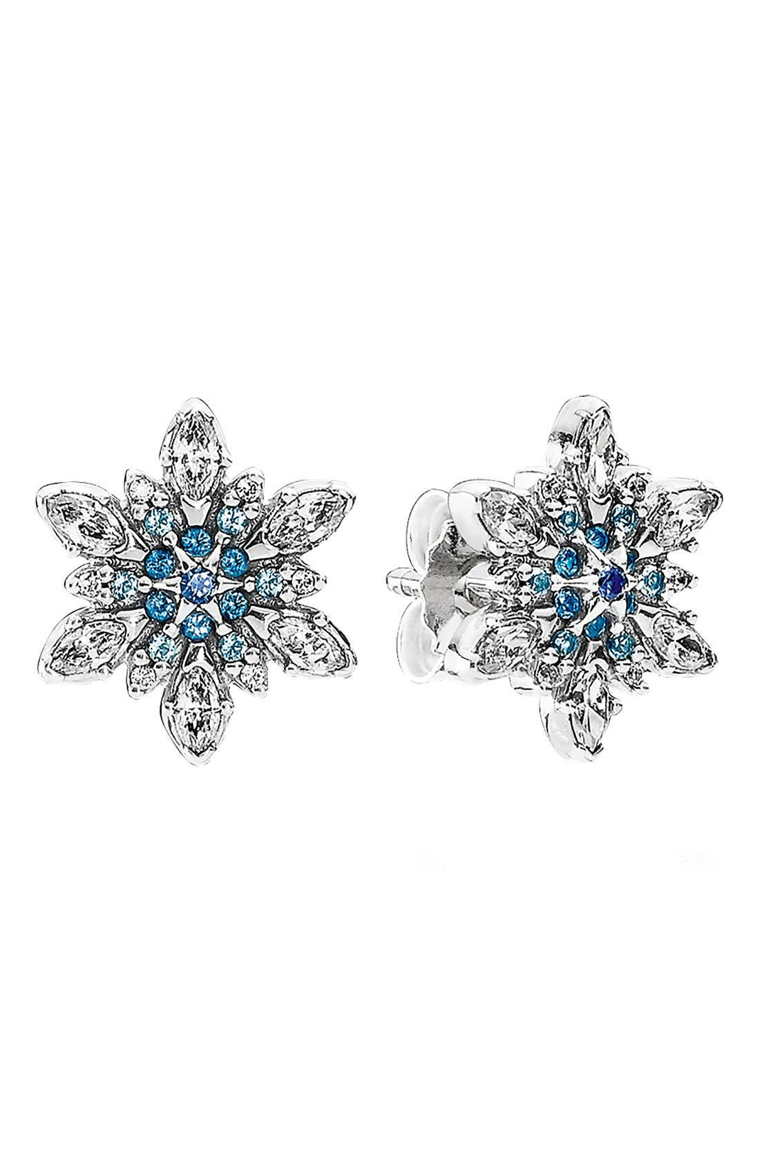 Main Image - PANDORA 'Snowflake' Crystal Stud Earrings