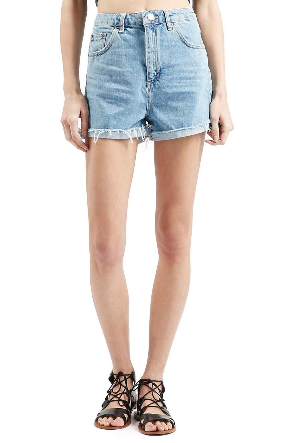 Alternate Image 1 Selected - Topshop 'Girlfriend' Denim Shorts