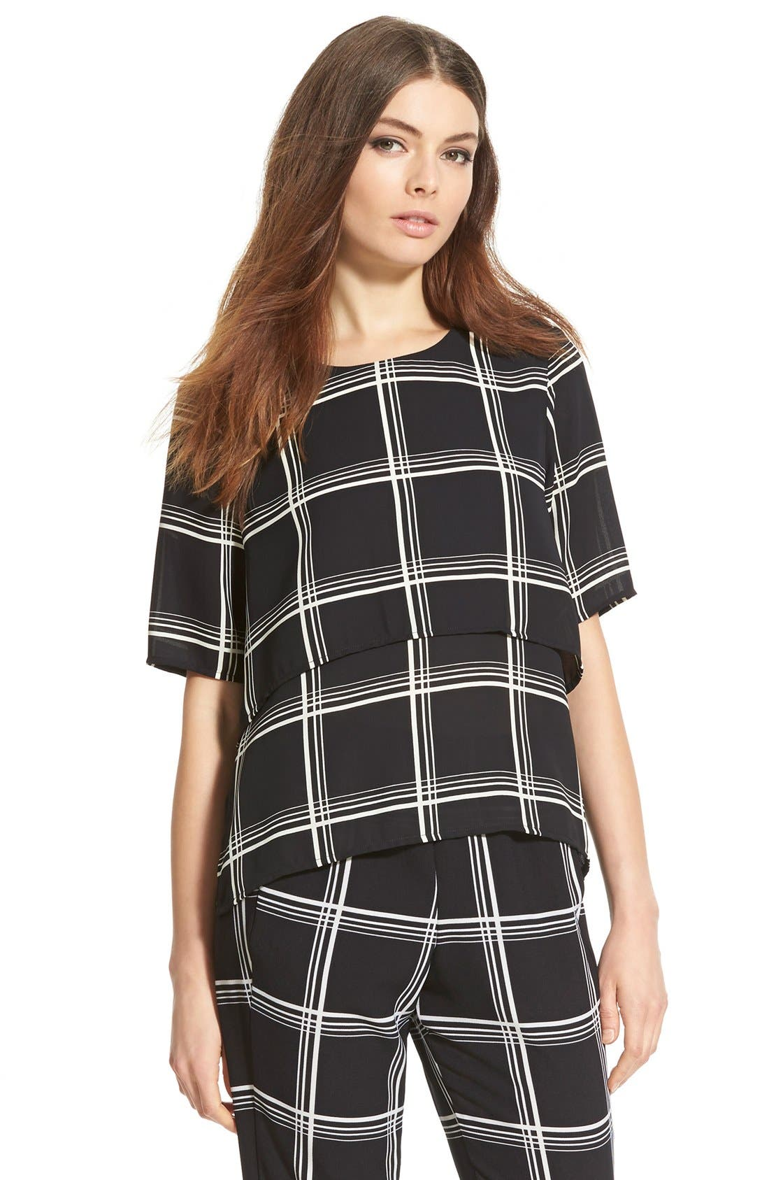 Alternate Image 1 Selected - Wayf Check Short Sleeve Overlay Blouse