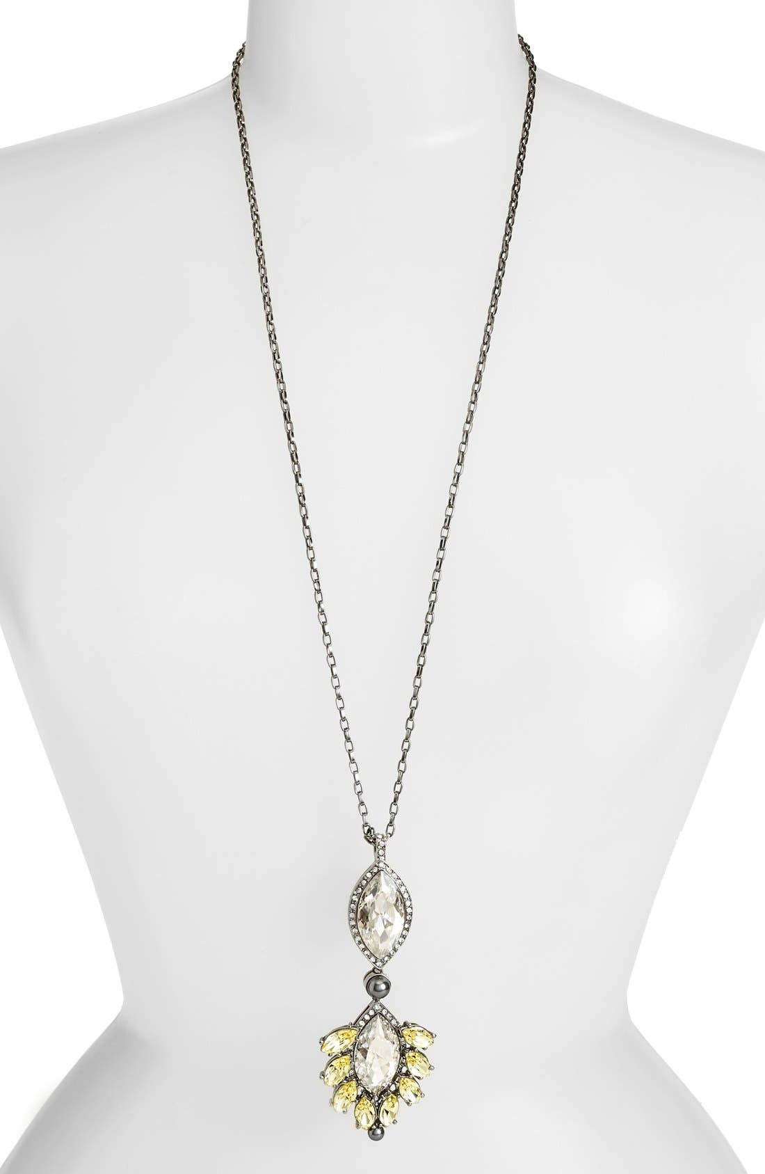 Alternate Image 2  - St. John Collection Swarovski Crystal & Glass Pearl Pendant Necklace
