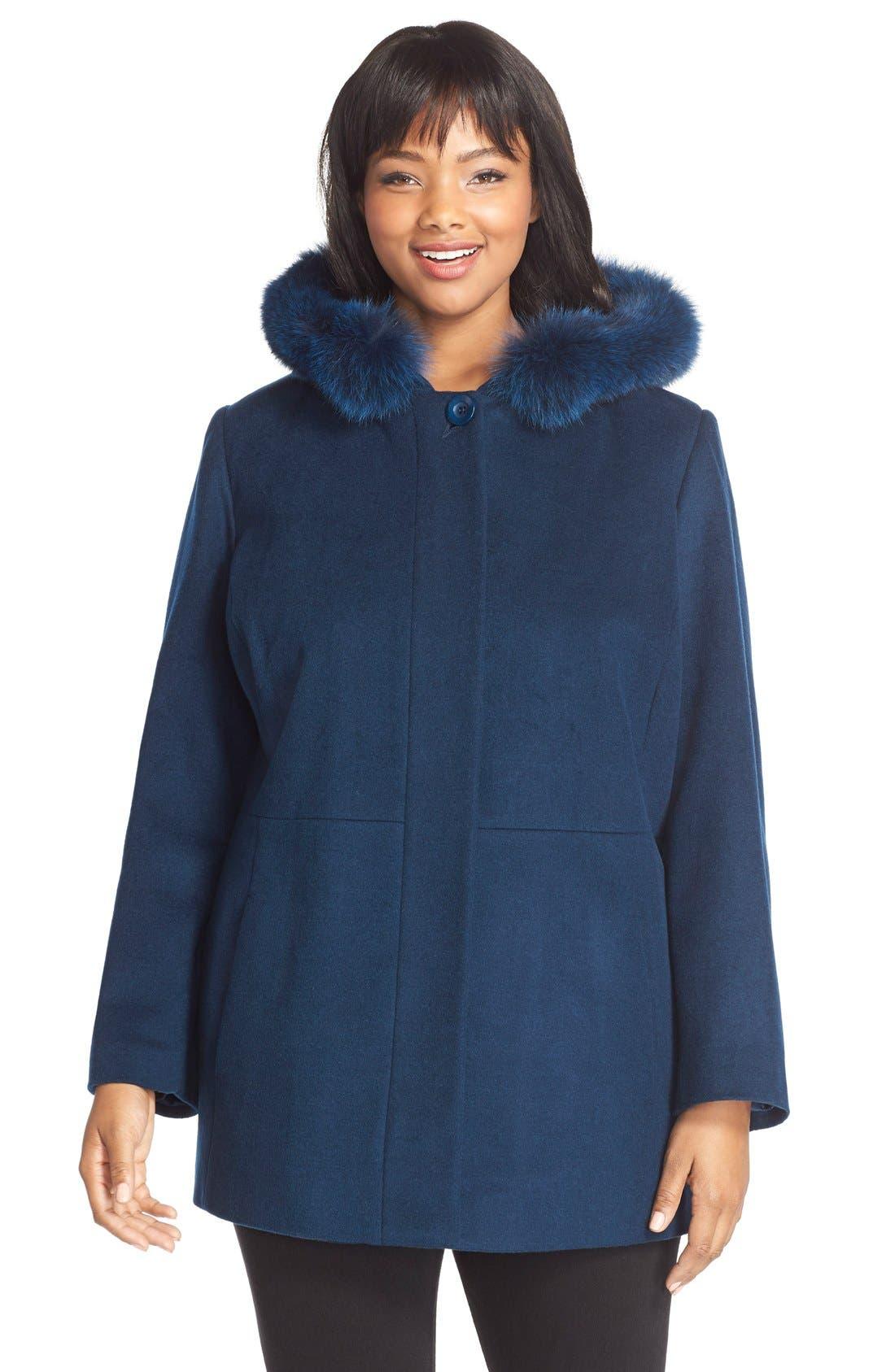 Sachi Genuine Fox Fur Trim Hooded Wool Blend Jacket (Plus Size)