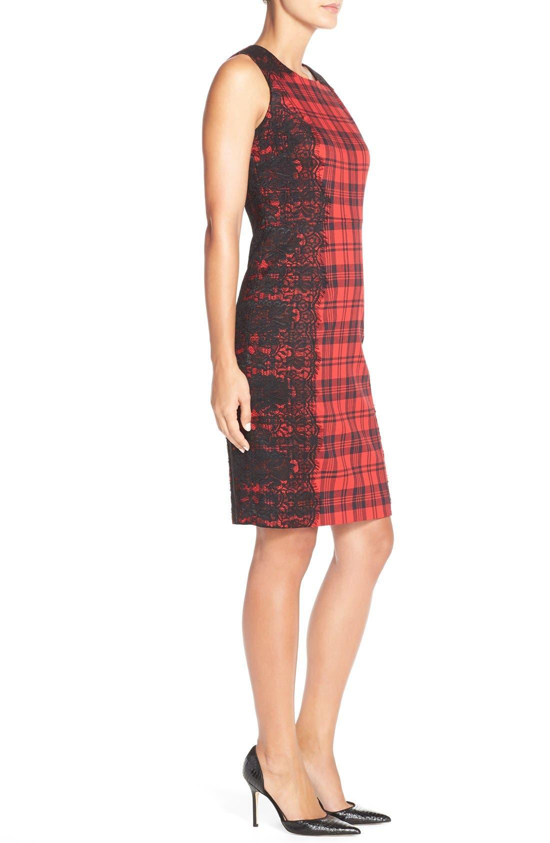 Alternate Image 3  - ChettaB Plaid & Lace Sheath Dress