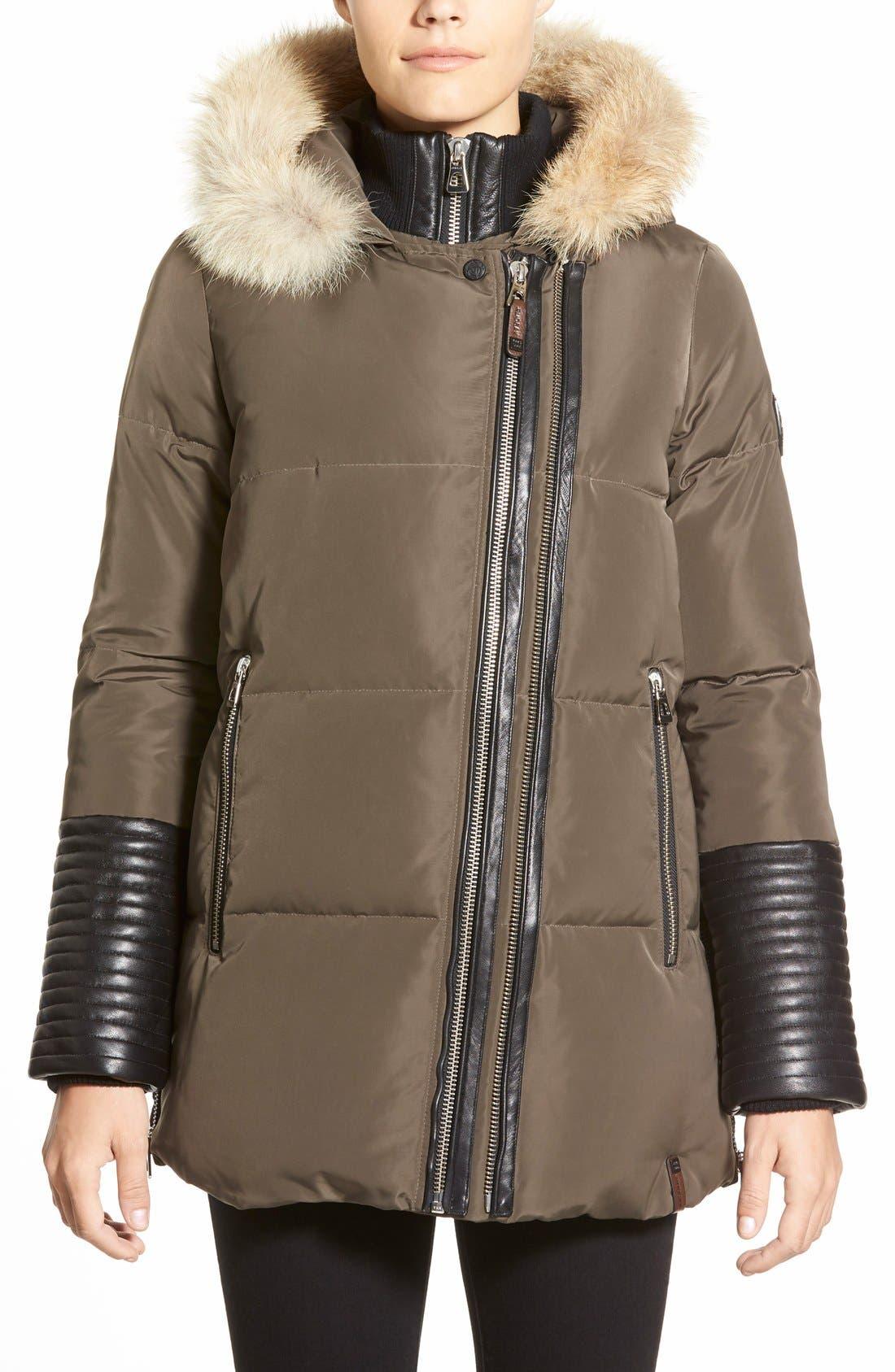 Alternate Image 1 Selected - Rudsak 'Cally' Leather & Genuine Coyote Fur Trim Down Coat
