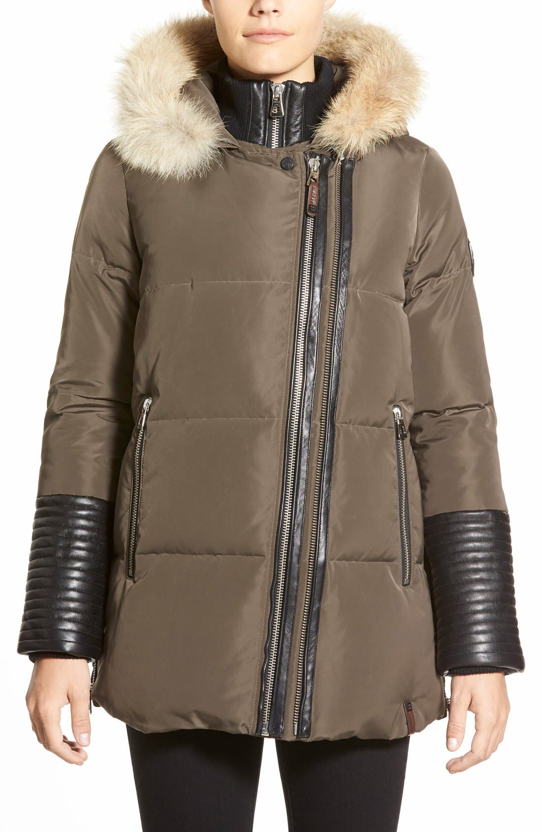Main Image - Rudsak 'Cally' Leather & Genuine Coyote Fur Trim Down Coat