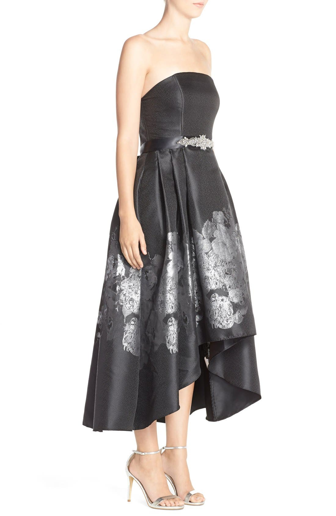 Alternate Image 3  - Betsy & Adam Metallic Jacquard High/Low Fit & Flare Dress