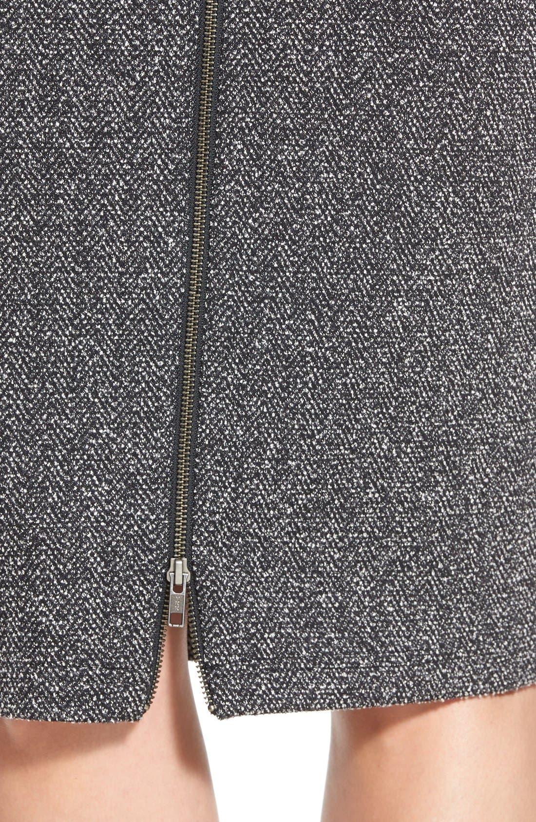 Alternate Image 4  - Halogen® Zip Front Stretch Knit Pencil Skirt (Regular & Petite)