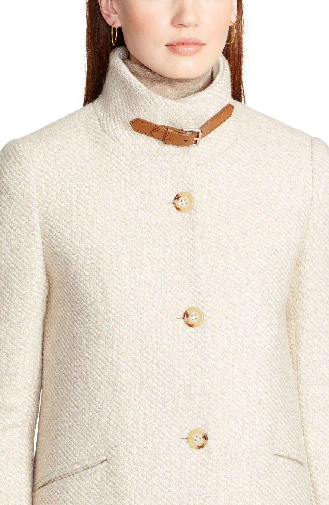 Alternate Image 3  - Lauren Ralph Lauren Knit Cuff Funnel Neck Basket Weave Coat