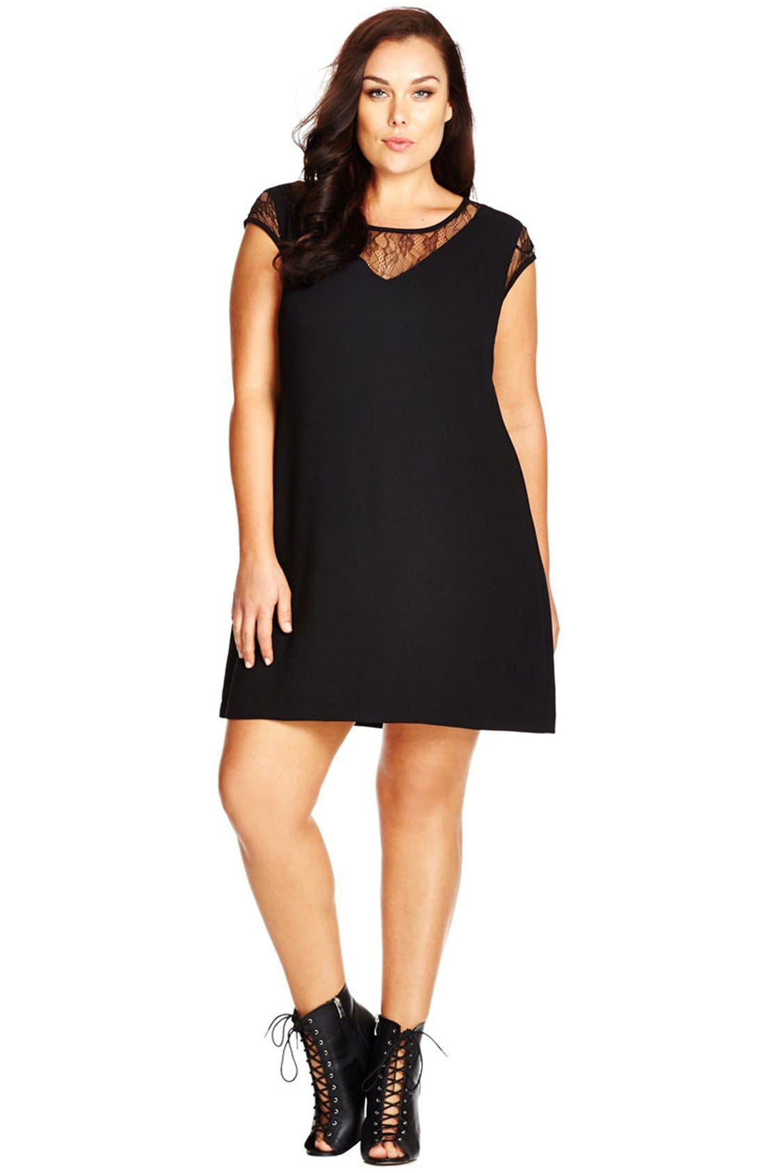 CITY CHIC Lace Inset Crepe Shift Dress