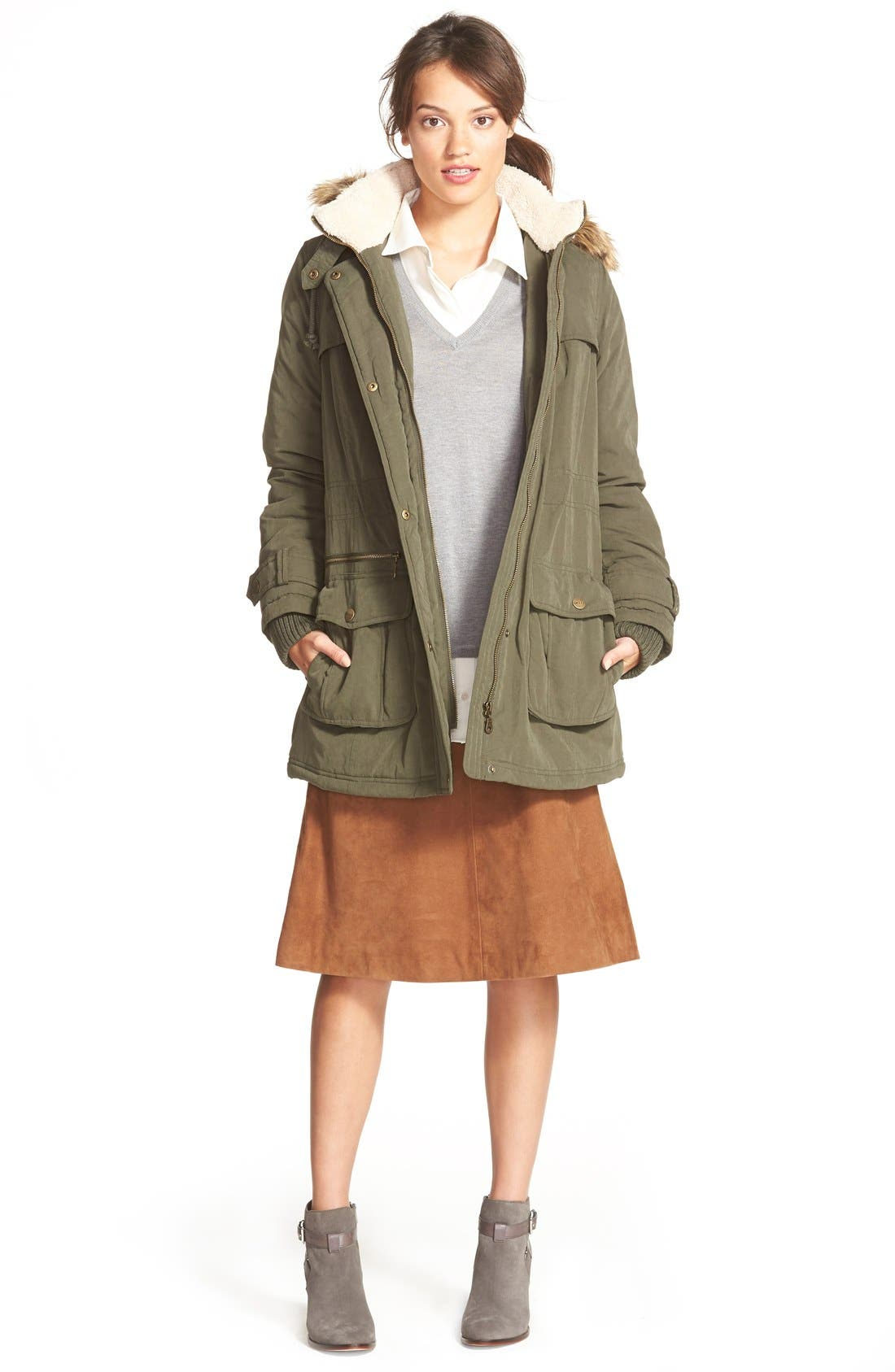 Alternate Image 2  - DKNY Faux Fur Trim Anorak (Regular & Petite)