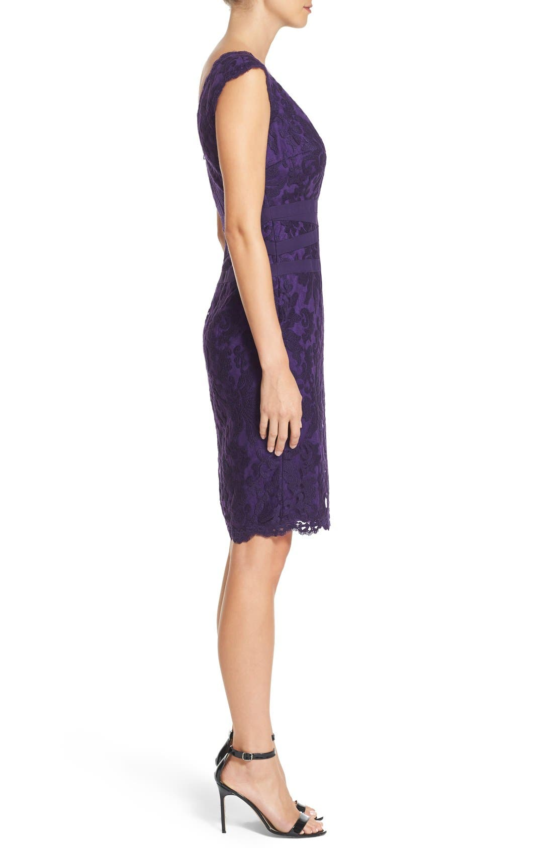 Alternate Image 3  - Tadashi Shoji Embroidered Lace Sheath Dress (Regular & Petite)
