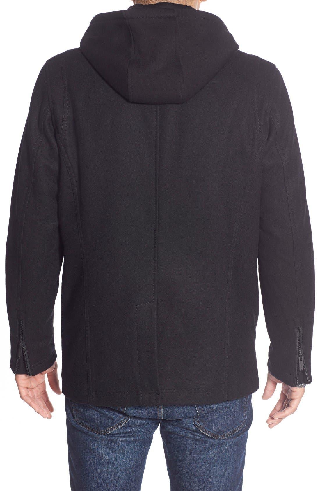 Alternate Image 2  - Black Rivet Single Breasted Hooded Coat