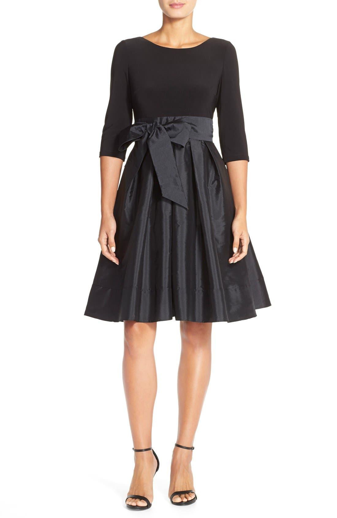 Alternate Image 4  - Adrianna PapellBow Taffeta Fit & Flare Dress (Regular & Petite)