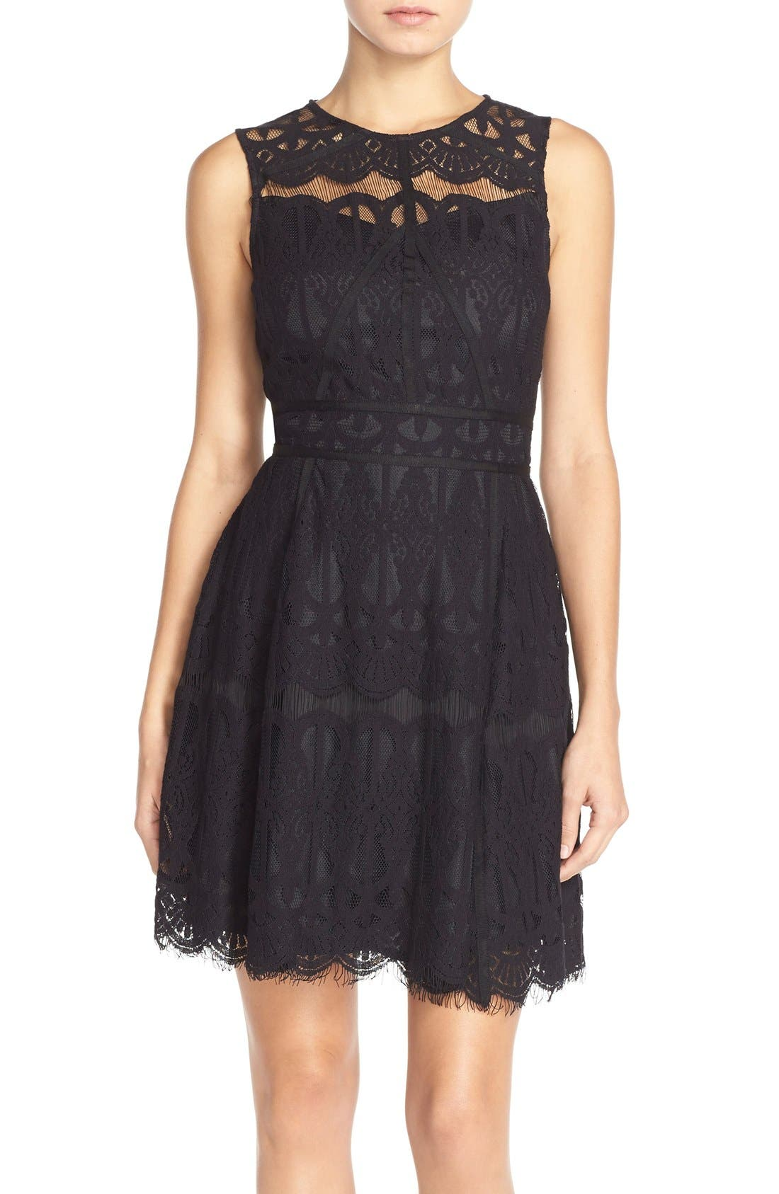 Adelyn Rae Illusion Yoke Lace Fit & Flare Dress