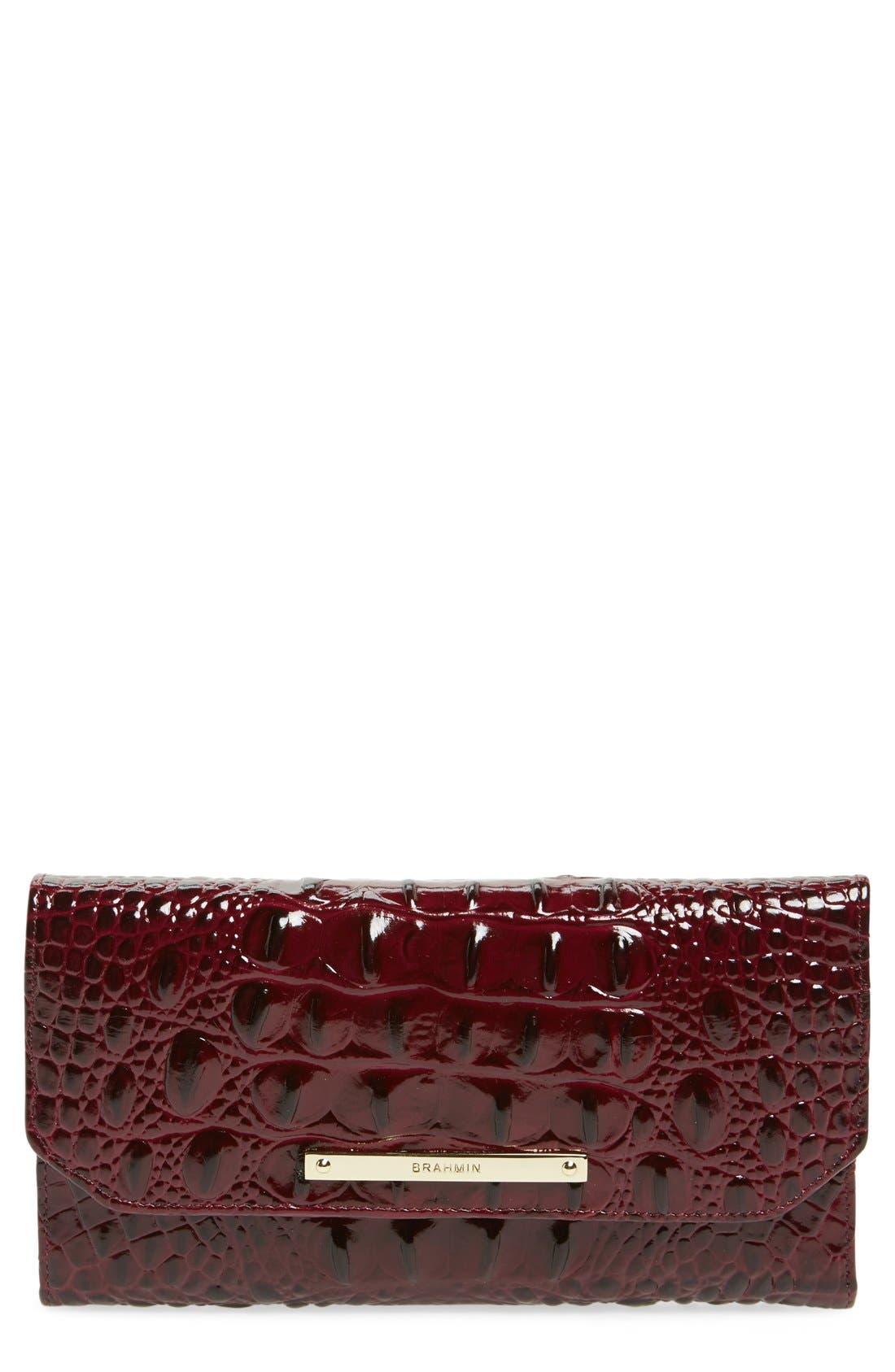 Alternate Image 1 Selected - Brahmin Croc Embossed Checkbook Wallet
