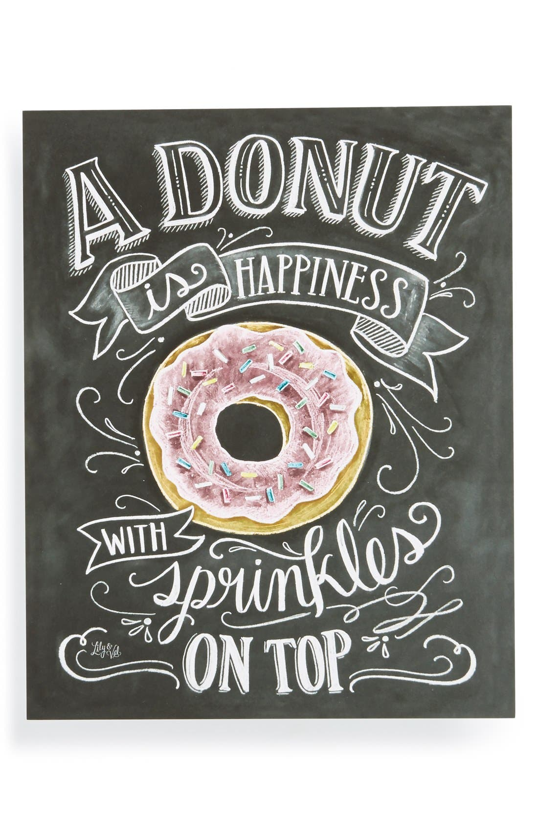 Main Image - Lily & Val 'A Donut is Happiness' Chalkboard Print Wall Art