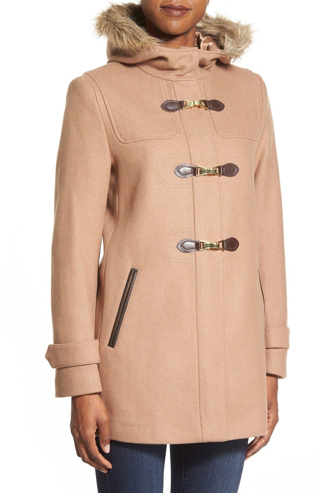 Alternate Image 4  - Cole Haan Faux Fur Trim Wool Blend Duffle Coat