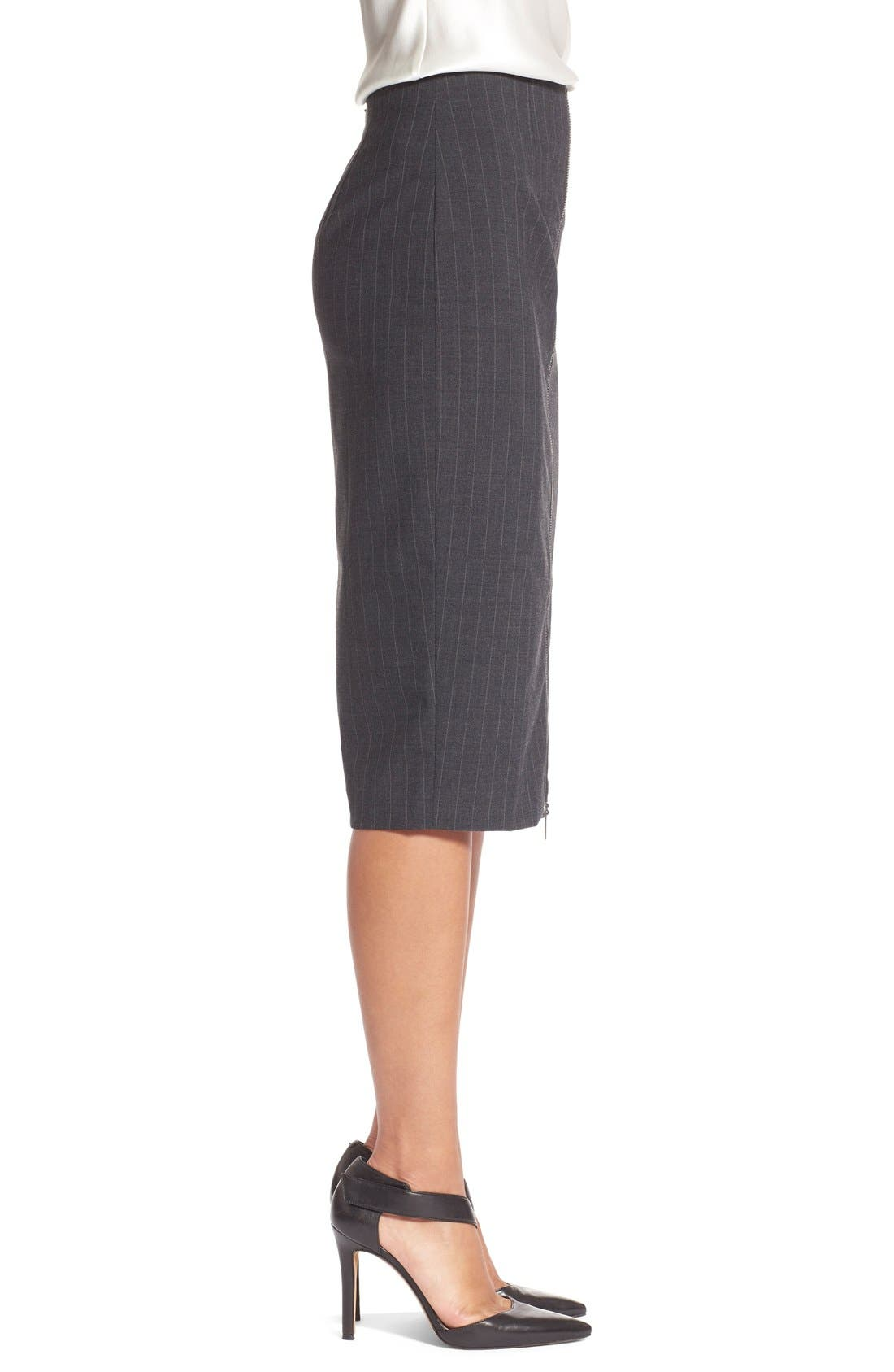 Alternate Image 3  - Halogen® Zip Front Pinstripe Pencil Skirt (Regular & Petite)