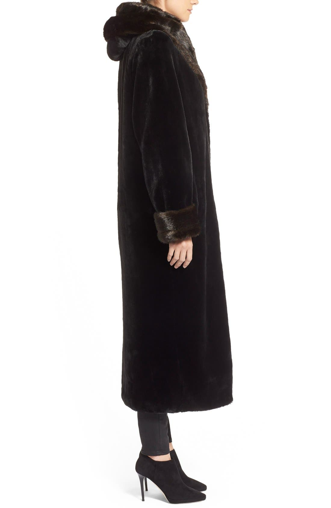 Alternate Image 3  - Gallery Hooded Full-Length Faux Fur Coat